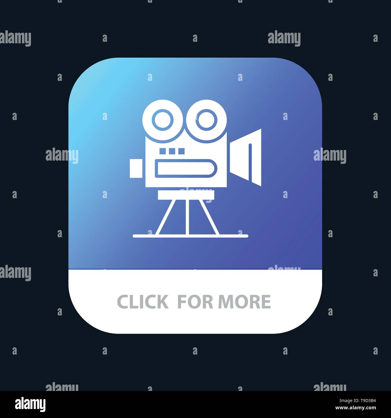 Camera, Capture, Film, Movie, Professional Mobile App Button. Android and IOS Glyph Version - Stock Vector