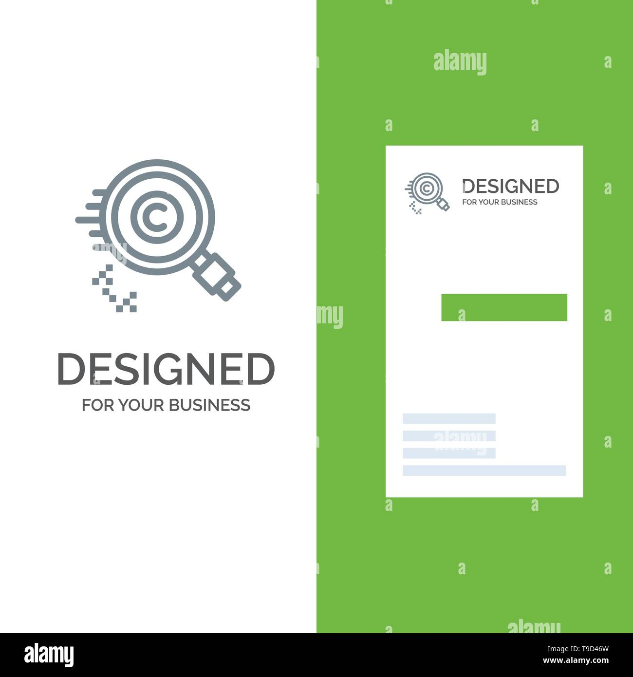 Content, Copyright, Find, Owner, Property Grey Logo Design and Business Card Template - Stock Image