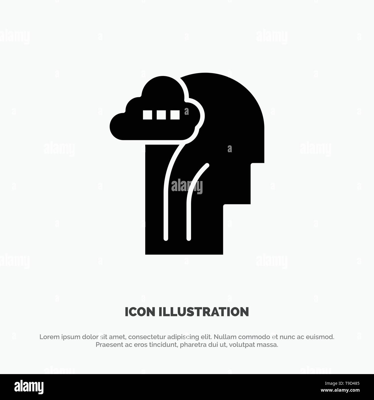 Activity, Brain, Mind, Head solid Glyph Icon vector Stock Vector