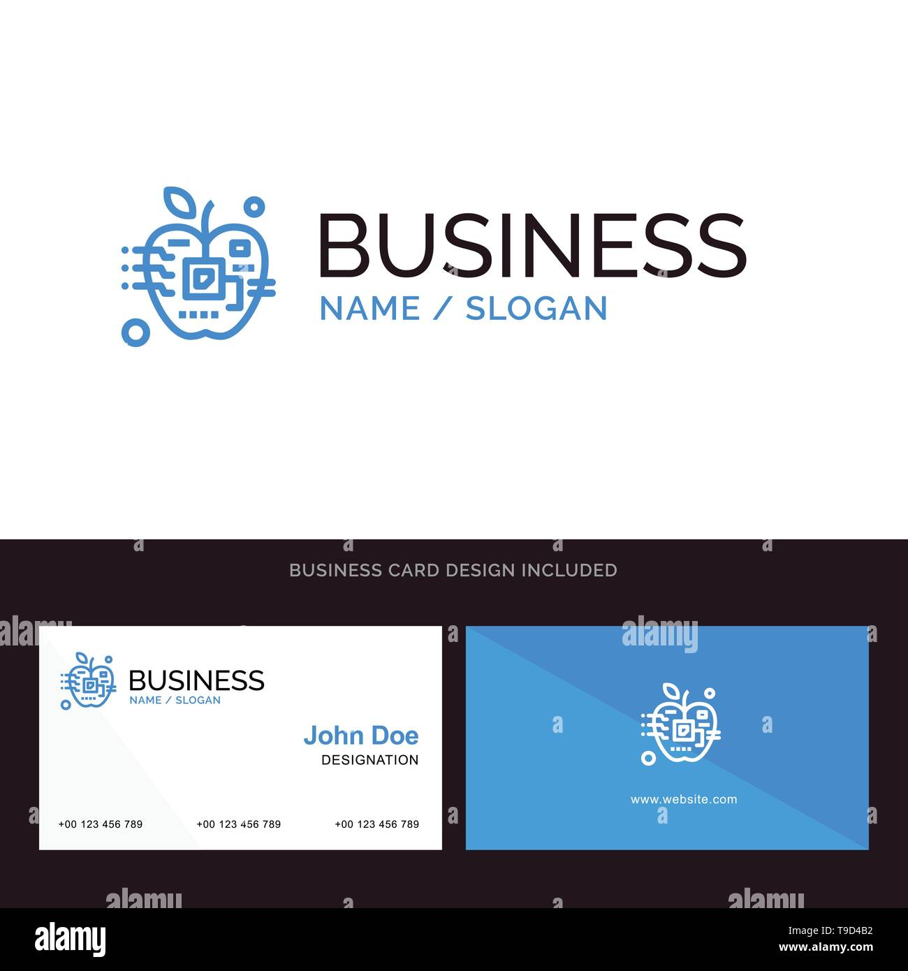 Apple, Artificial, Biology, Digital, Electronic Blue Business logo and Business Card Template. Front and Back Design - Stock Image