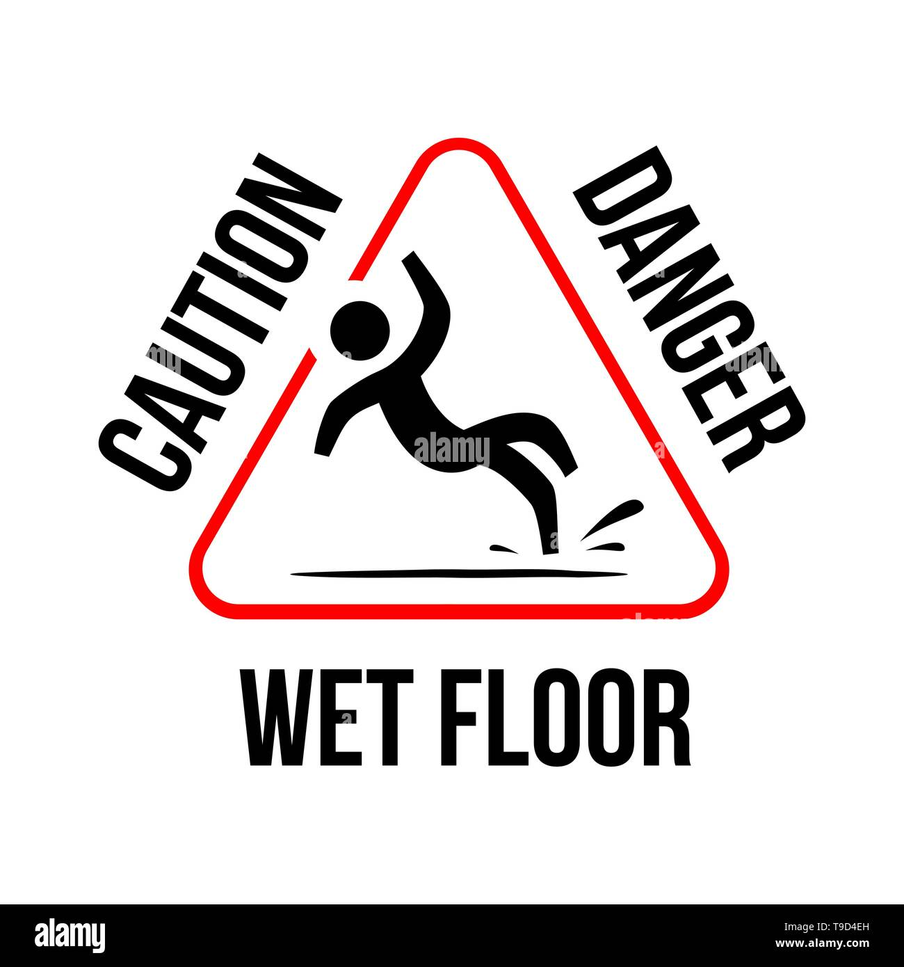 Wet Floor sign. yellow triangle with falling man in modern rounded style.  slippery floor triangle yellow sign. caution warning beware danger. - Stock Image