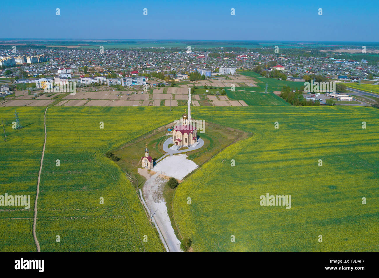 View of the Church of the Holy New Martyrs and Confessors of the Land of Belarus in the city of Skidel (aerial photography). Belarus - Stock Image