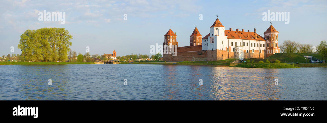 Spring morning panorama with the Mir Castle. Belarus - Stock Image