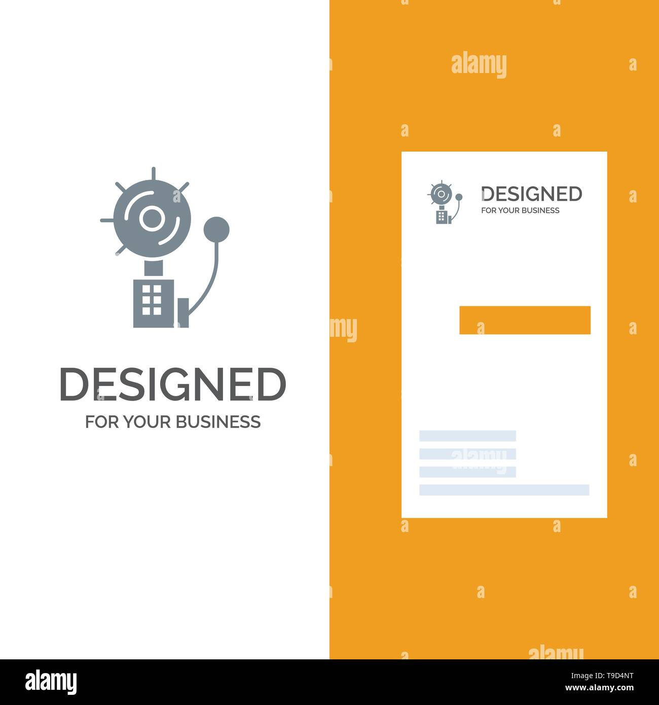 Alarm, Alert, Bell, Fire, Intruder Grey Logo Design and Business Card Template - Stock Image