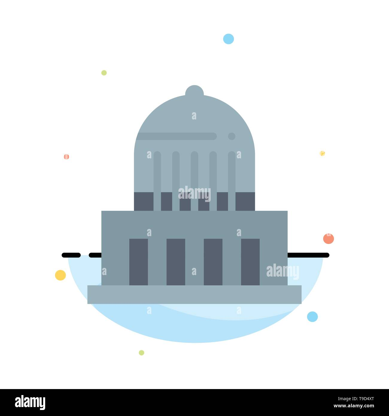 Building, City, Landmark, Usa Abstract Flat Color Icon Template - Stock Image