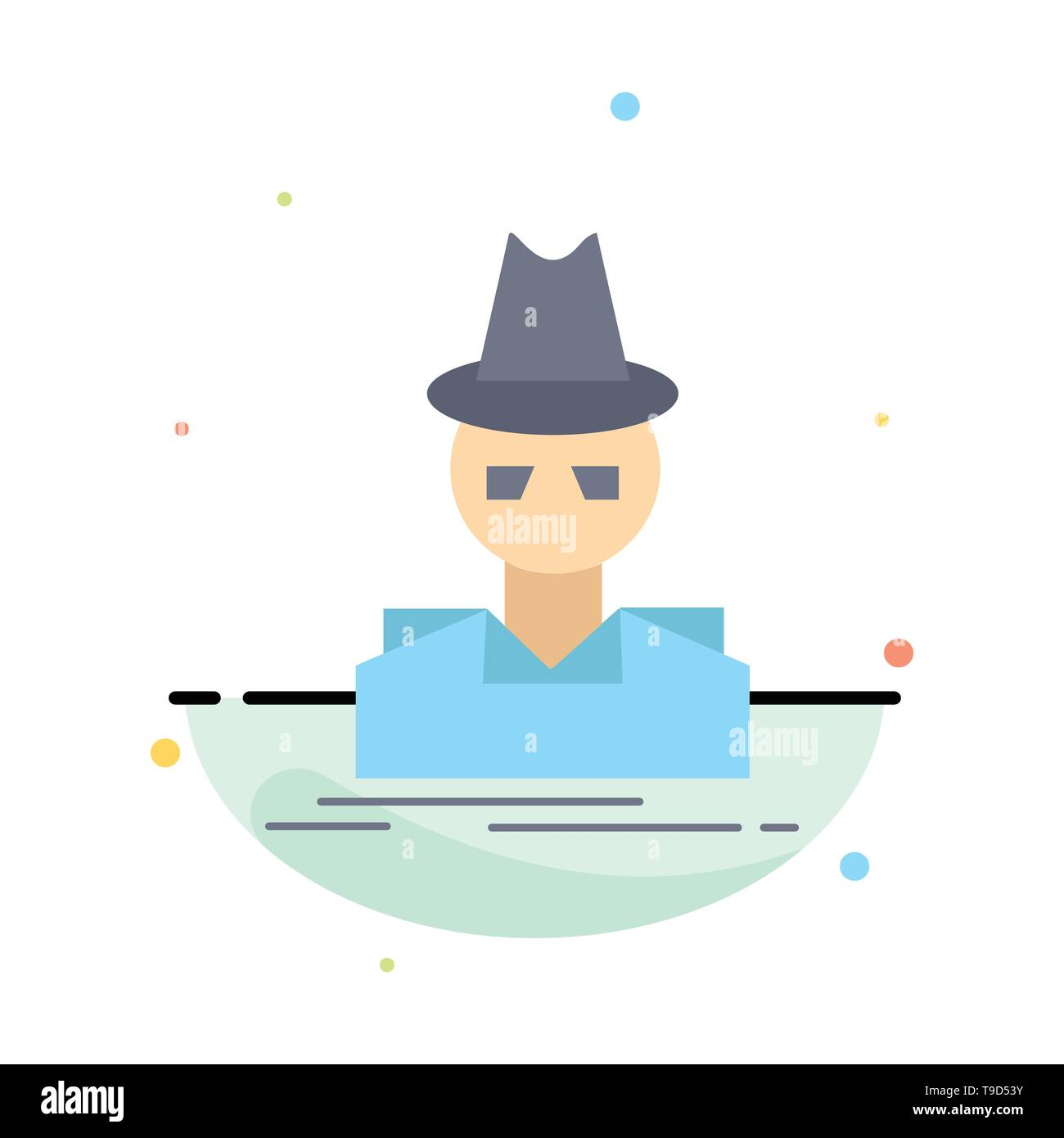 Detective, hacker, incognito, spy, thief Flat Color Icon Vector - Stock Image