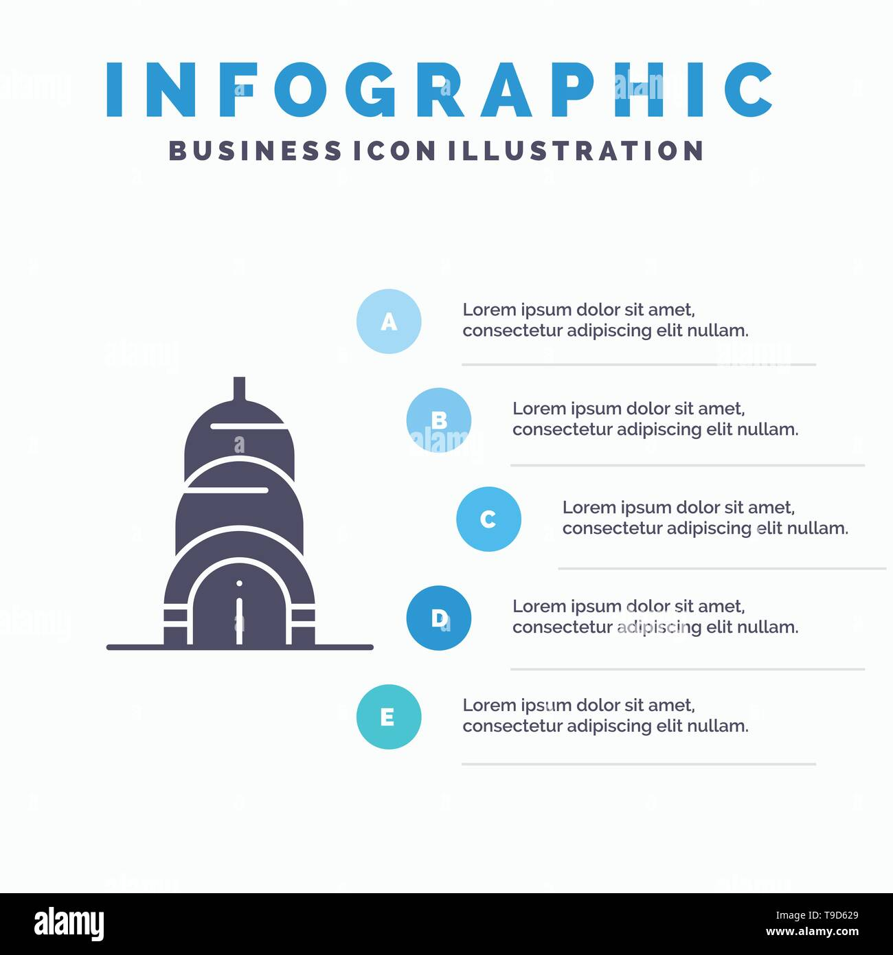Chrysler, Building, Usa Solid Icon Infographics 5 Steps Presentation Background - Stock Image