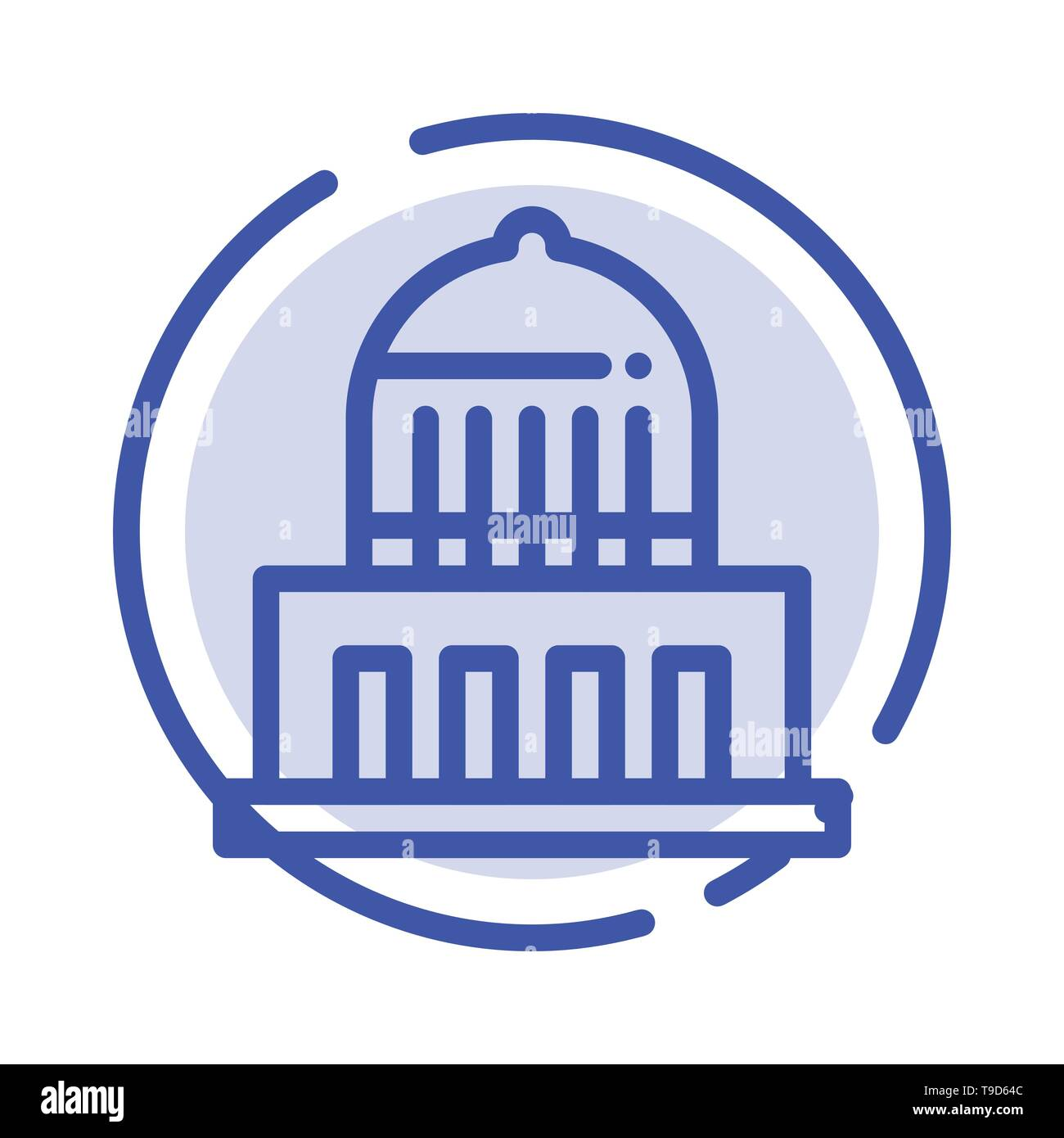 Building, City, Landmark, Usa Blue Dotted Line Line Icon - Stock Image