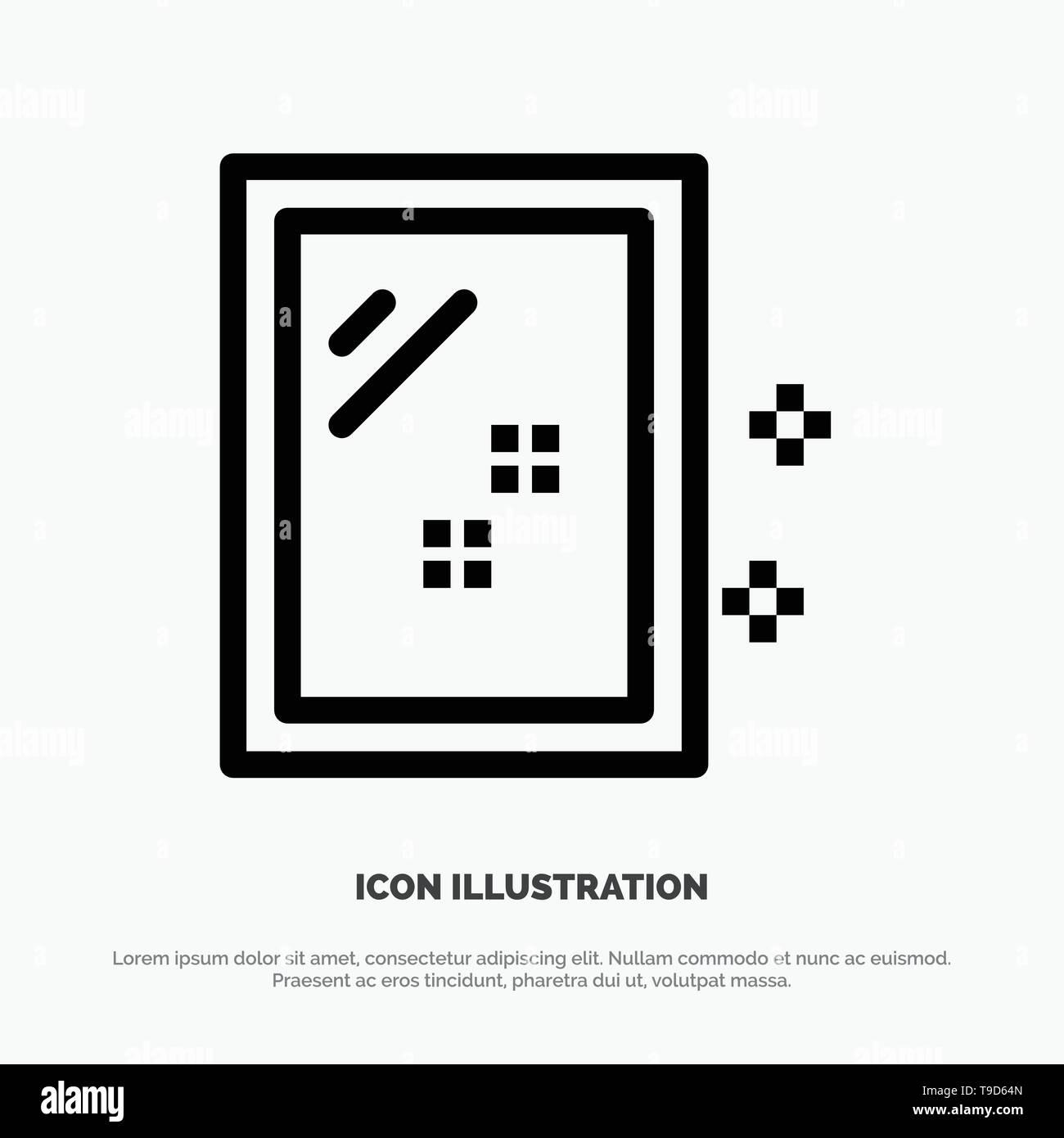 Door, Mirror, Cleaning, Wash Line Icon Vector - Stock Image