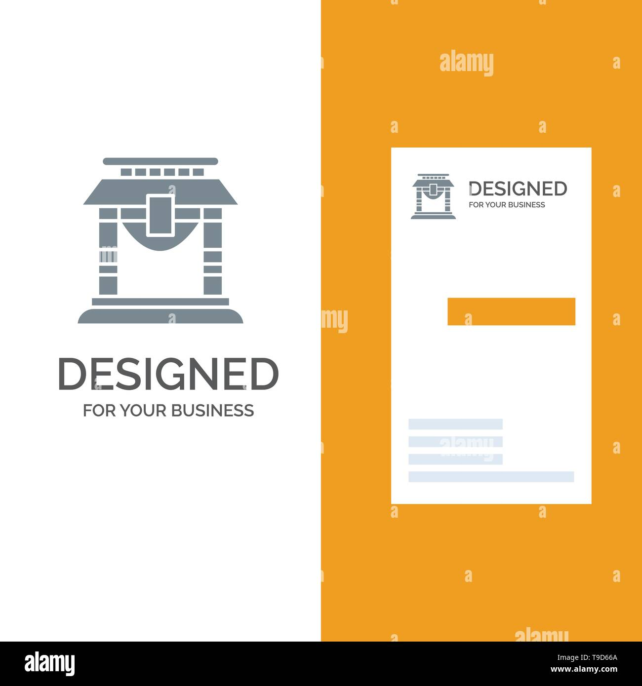 Door, Bridge, China, Chinese Grey Logo Design and Business Card Template - Stock Image