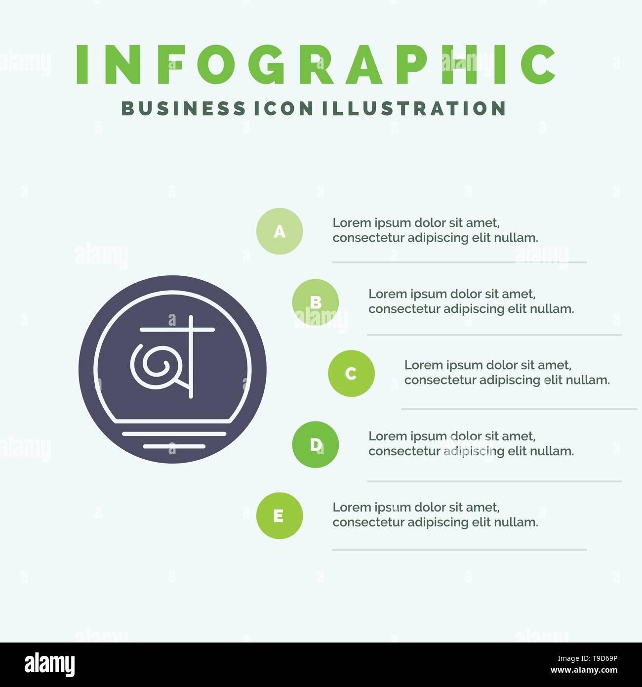 Bangla, Bangladesh, Bangladeshi, Business Solid Icon Infographics 5 Steps Presentation Background - Stock Image