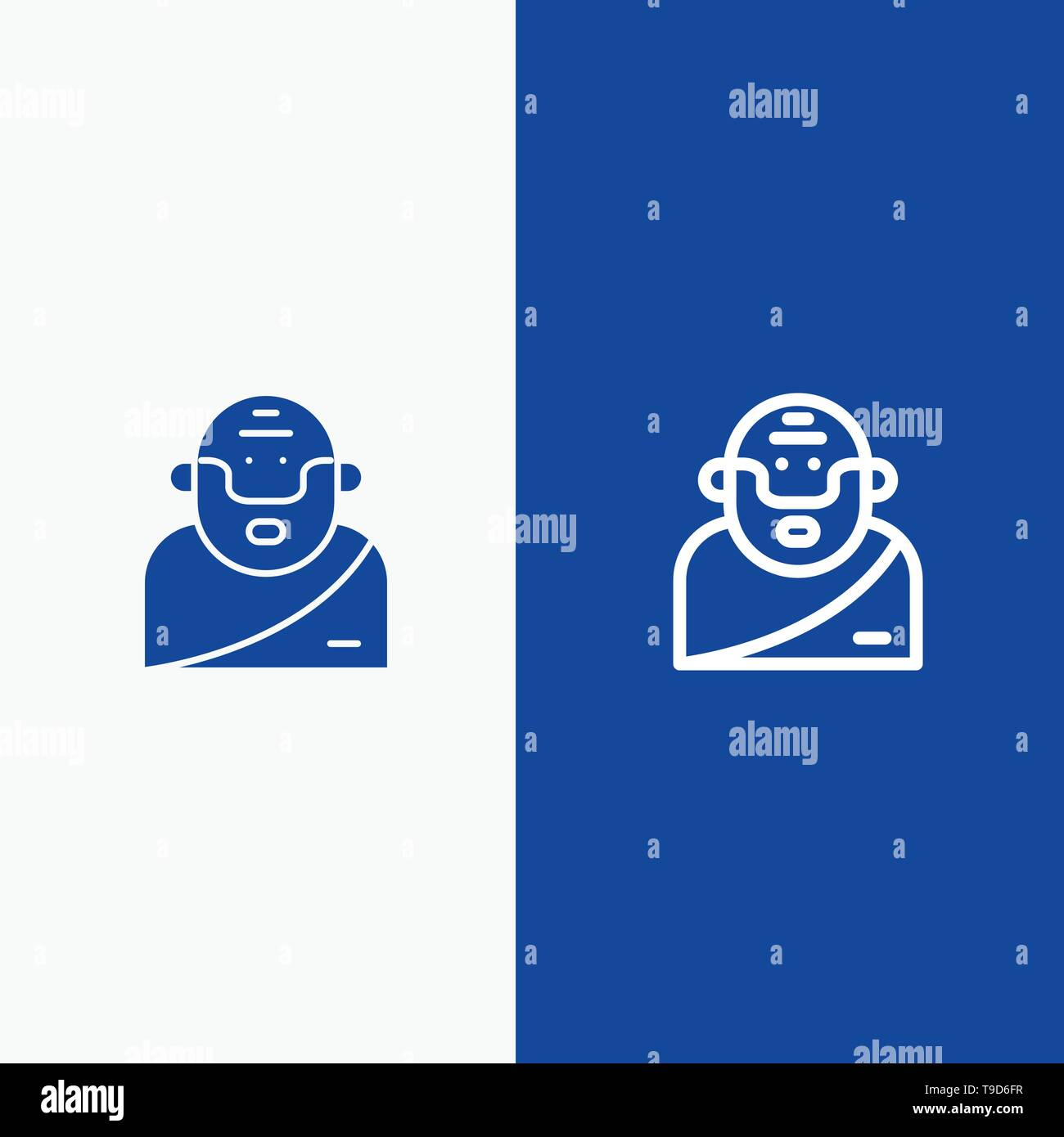 God, Greek, Mythology, Old Line and Glyph Solid icon Blue banner Line and Glyph Solid icon Blue banner - Stock Image