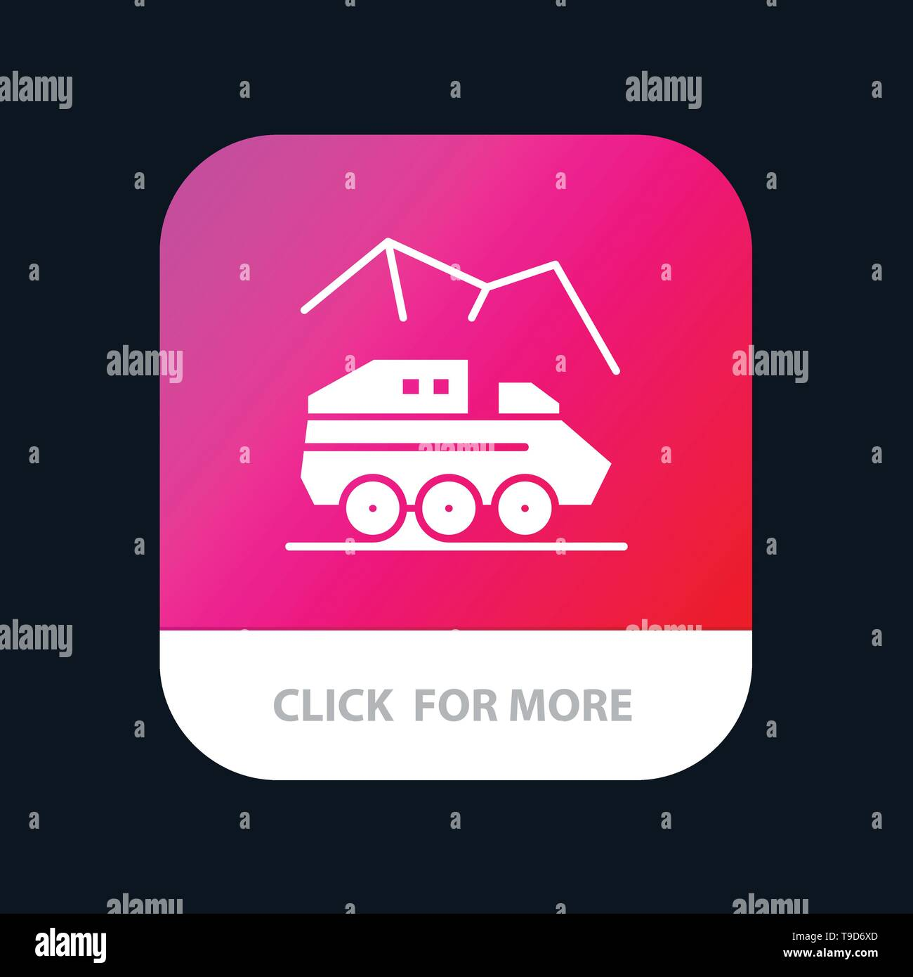 Exploration, Planet, Rover, Surface, Transport Mobile App Button. Android and IOS Glyph Version - Stock Image