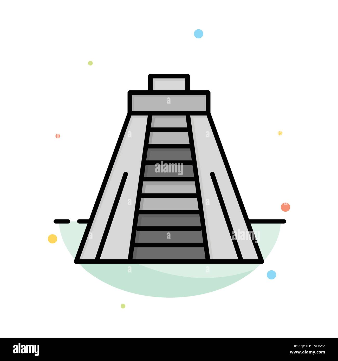 Chichen Itza, Landmark, Monument Abstract Flat Color Icon Template - Stock Image