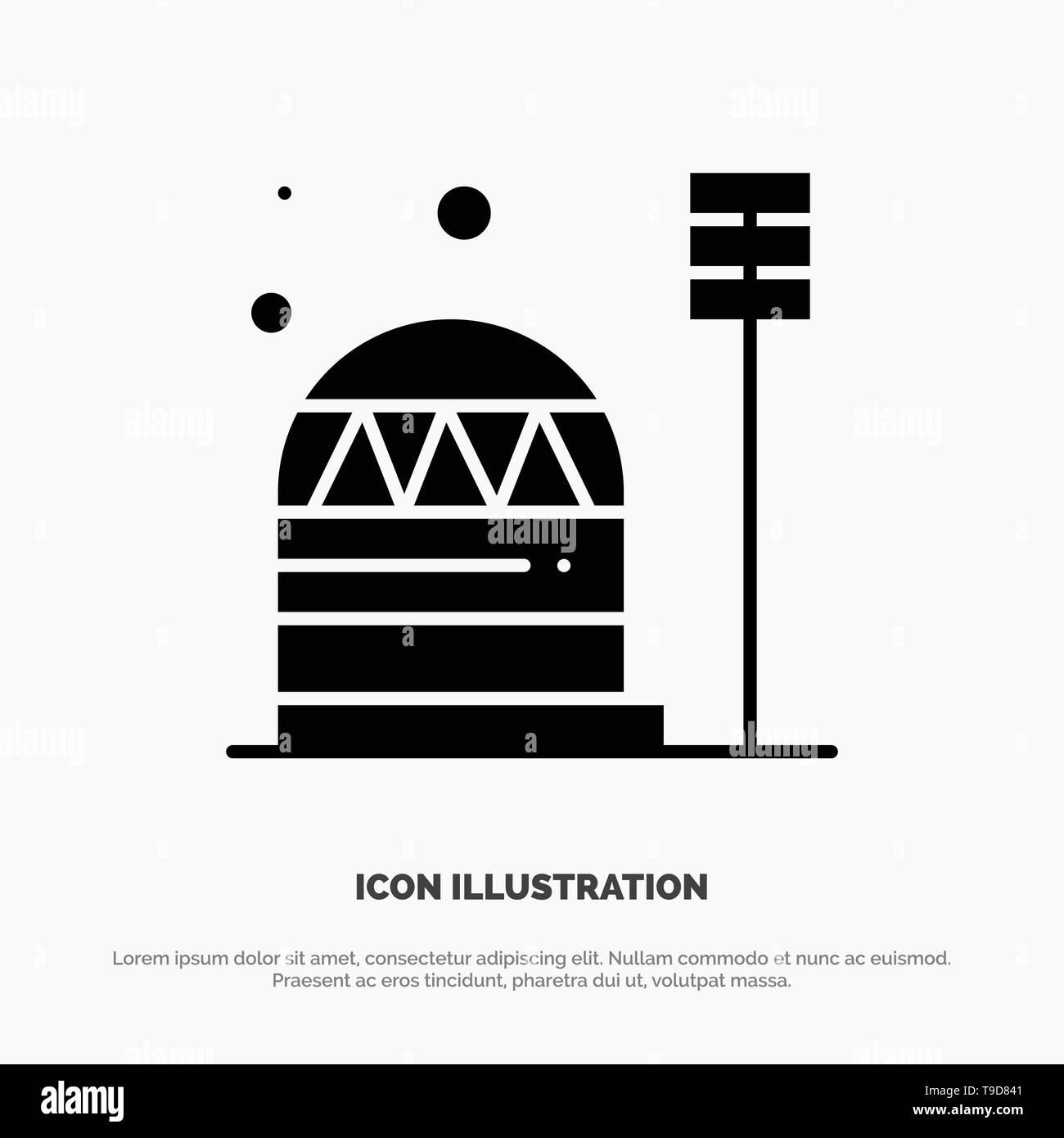 Base, Colony, Construction, Dome, Habitation solid Glyph Icon vector - Stock Vector