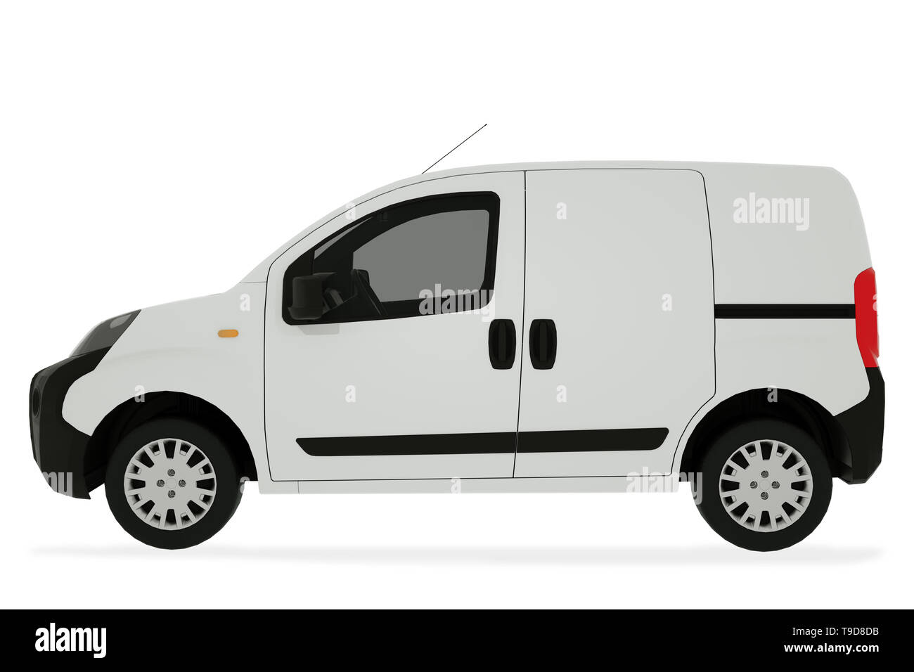 Pickup car on white background mock up. Delivery Van 3D Illustration. - Stock Image