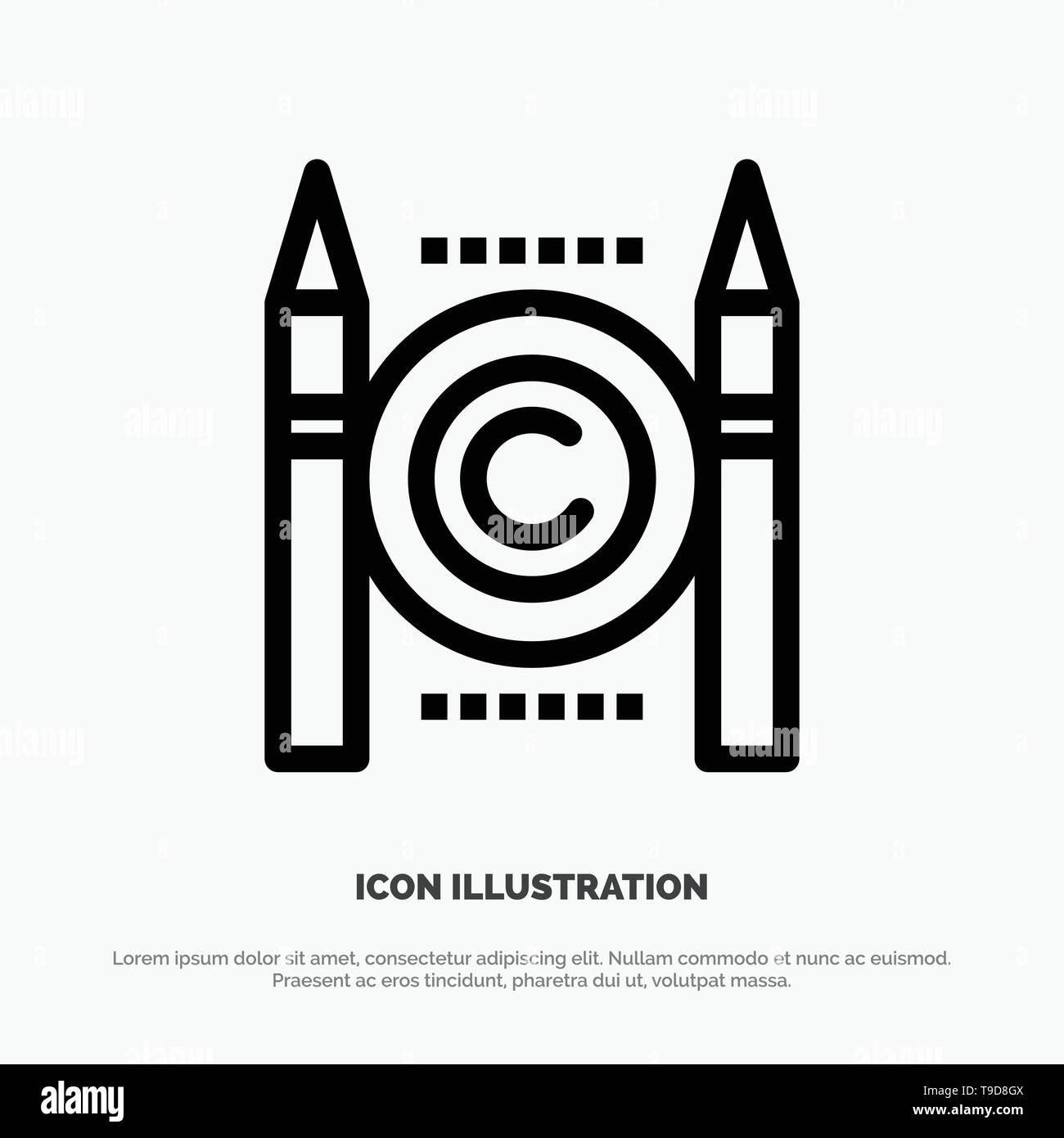 Business, Conflict, Copyright, Digital Line Icon Vector - Stock Image