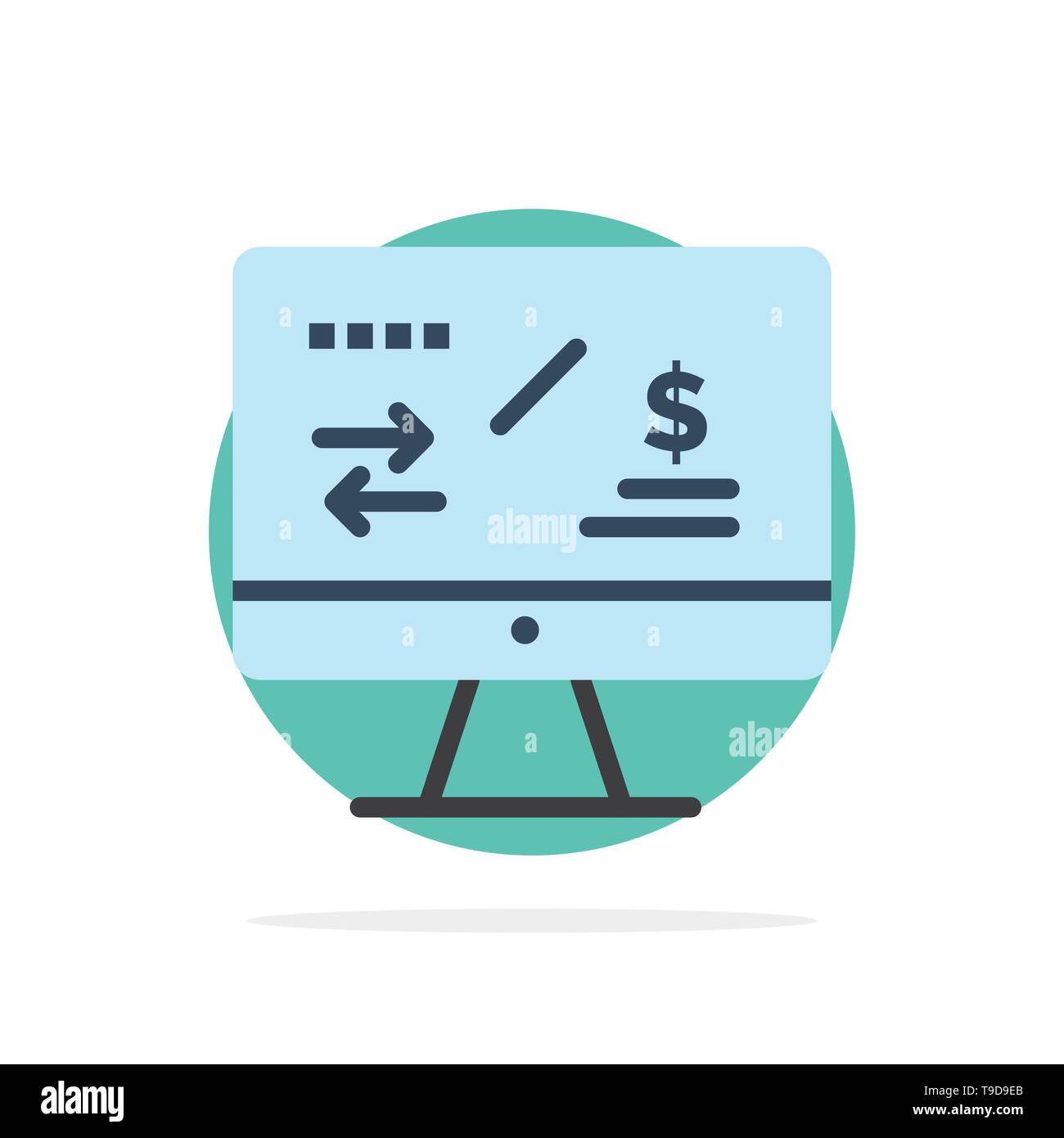 Tax Regulation, Finance, Income, Computer Abstract Circle Background Flat color Icon - Stock Vector