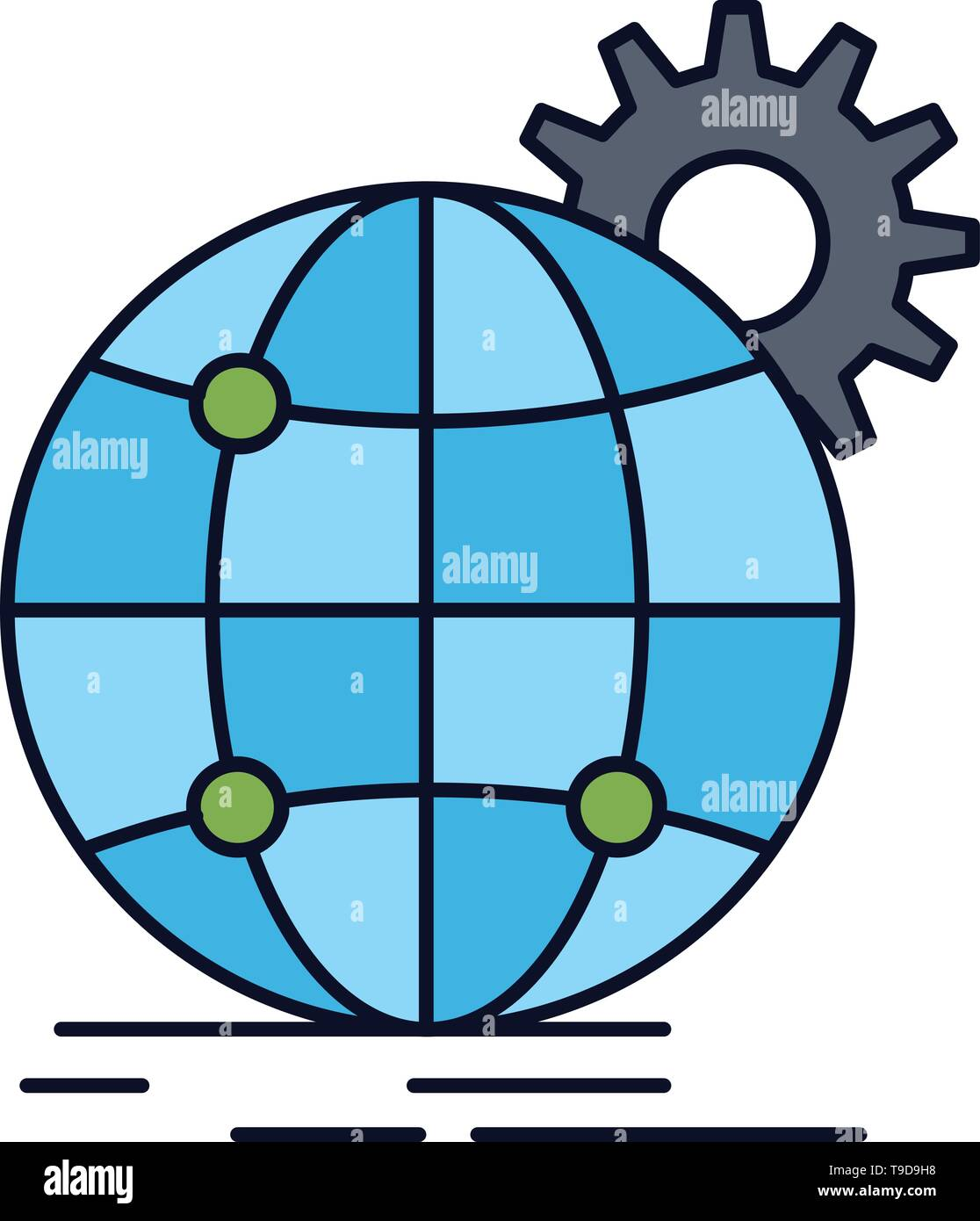 international, business, globe, world wide, gear Flat Color Icon Vector - Stock Image