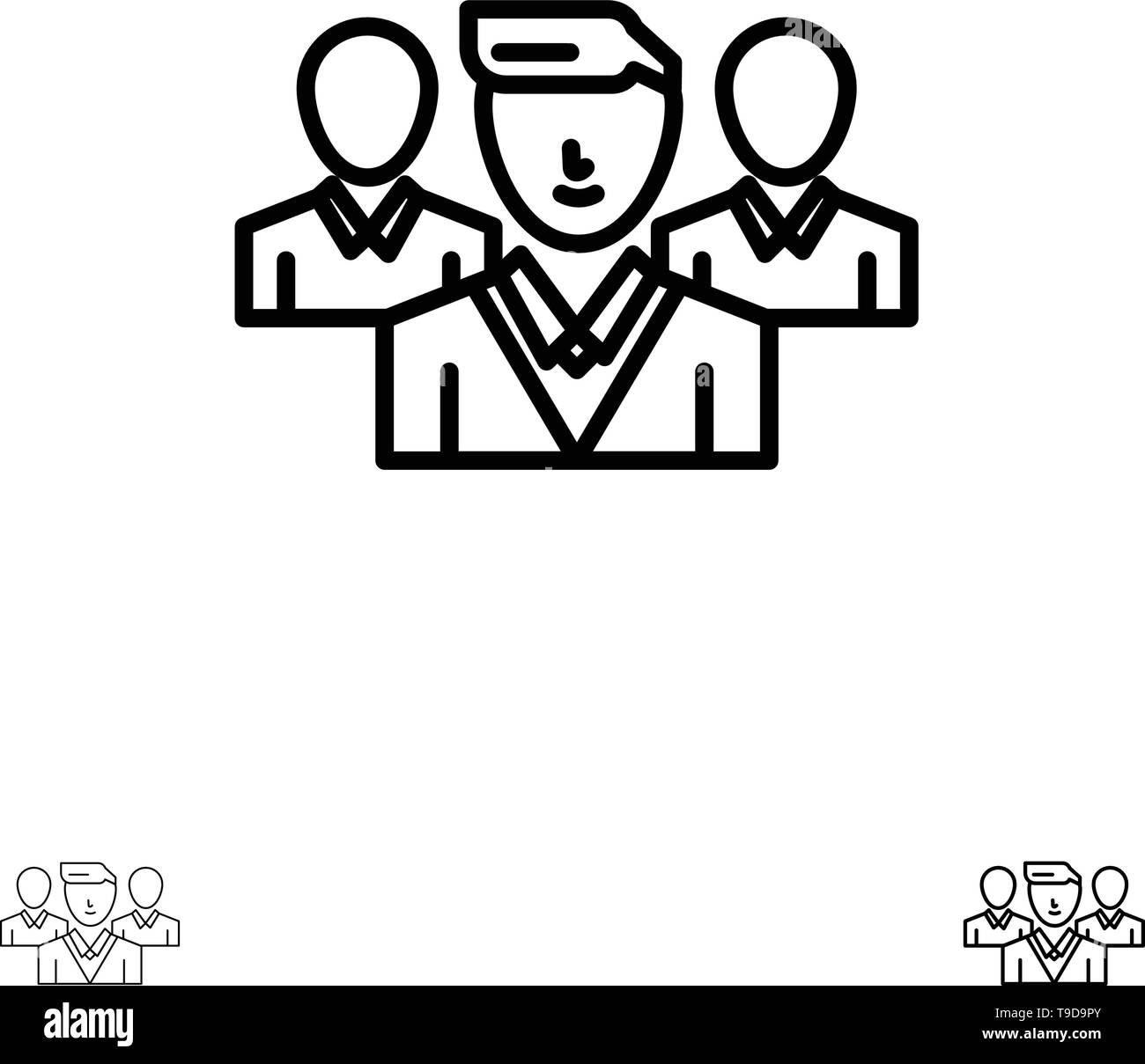 Staff, Security, Friend zone, Gang Bold and thin black line icon set - Stock Image
