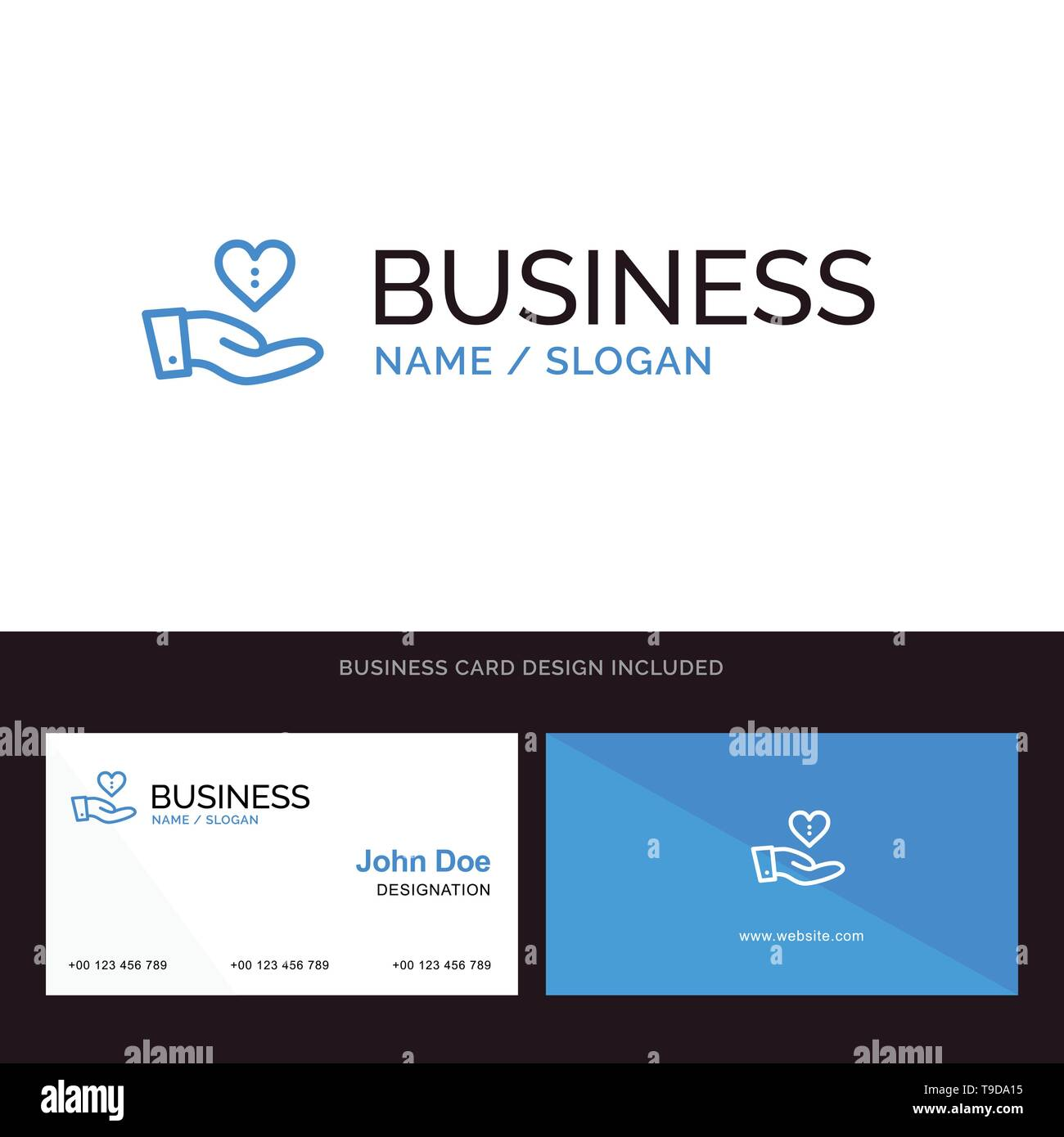 Charity, Donation, Giving, Hand, Love Blue Business logo and Business Card Template. Front and Back Design - Stock Image
