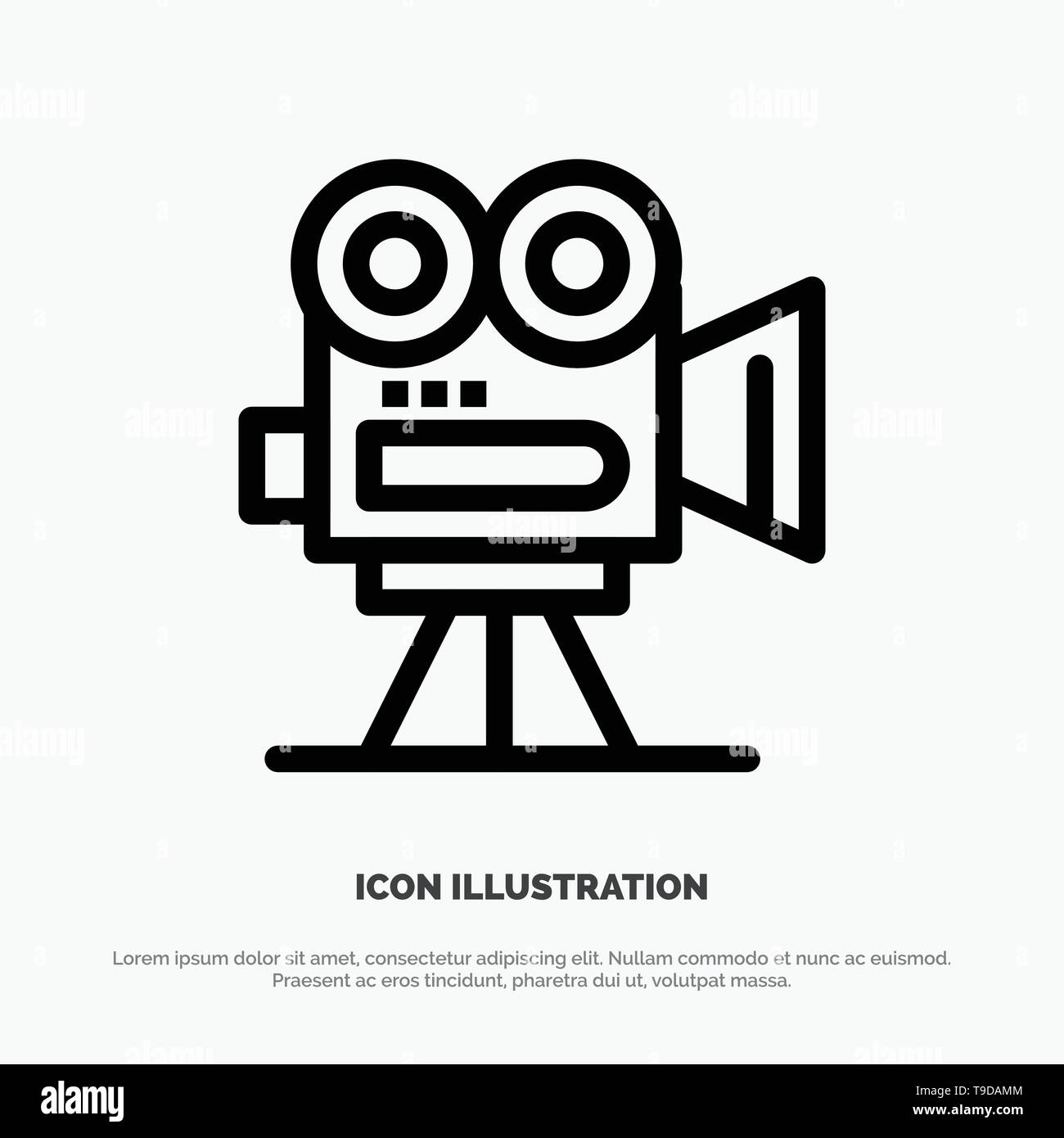 Camera, Capture, Film, Movie, Professional Line Icon Vector - Stock Vector