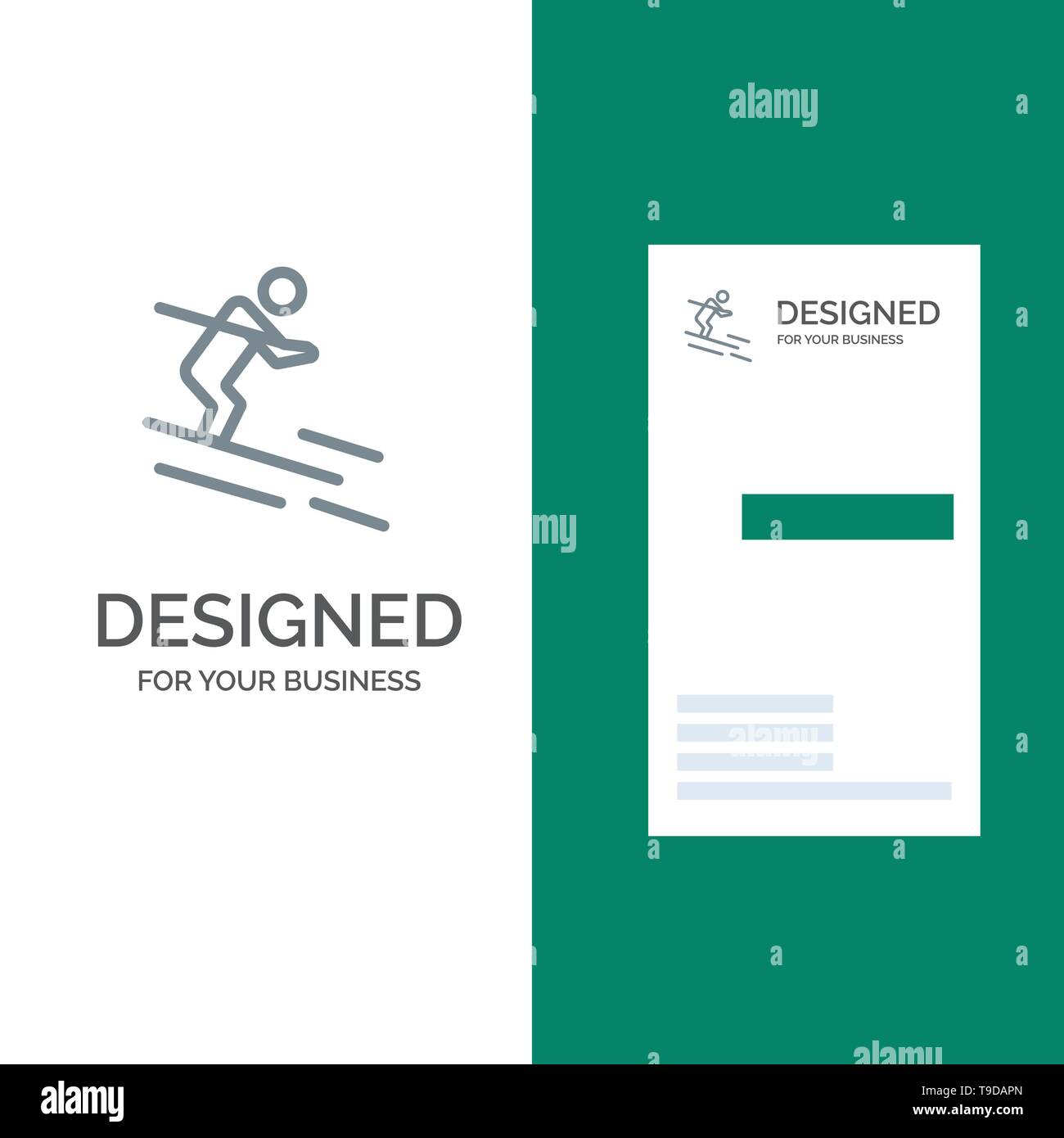 Activity, Ski, Skiing, Sportsman Grey Logo Design and Business Card Template - Stock Image