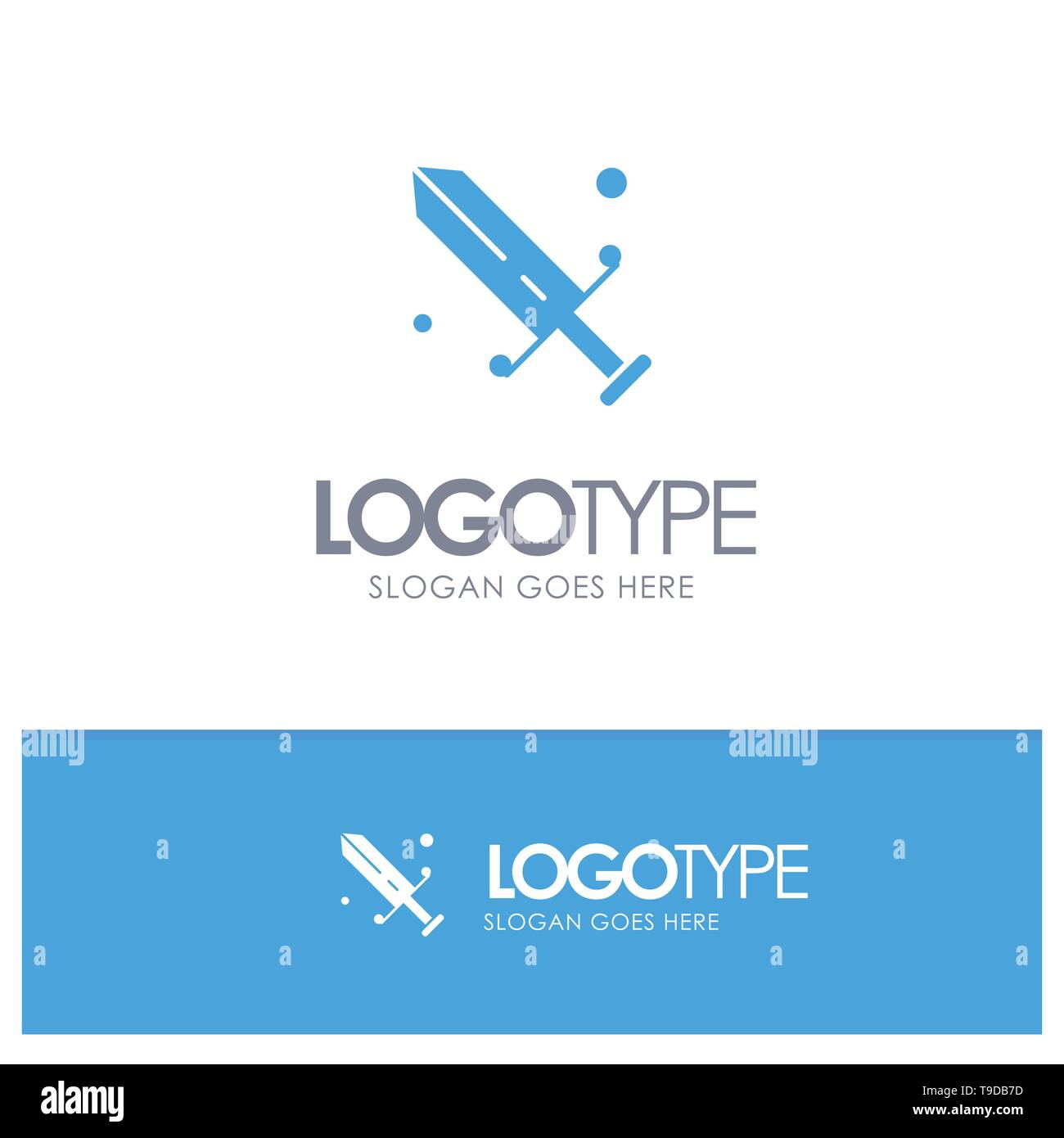Competition, Fencing, Mask, Olympic Blue Solid Logo with place for tagline - Stock Vector