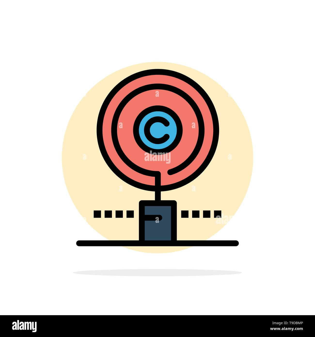 Content, Copyright, Find, Owner, Property Abstract Circle Background Flat color Icon - Stock Image