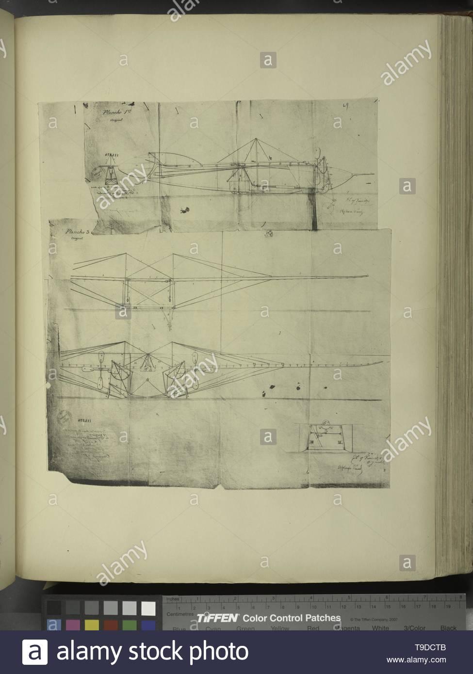 LaVaulx,Henryde,1870-1930-Planche I et II du brevet n° 111 574 pris en France le 16 février 1876, par Penaud et Gauchot, pour «Un aéro-plane ou appareil aérien volant» - Stock Image