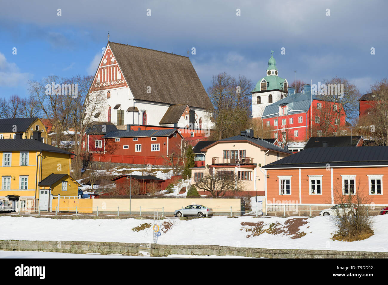 Landscape of the old city with the medieval Lutheran cathedral on a march day. Porvoo, Finland - Stock Image