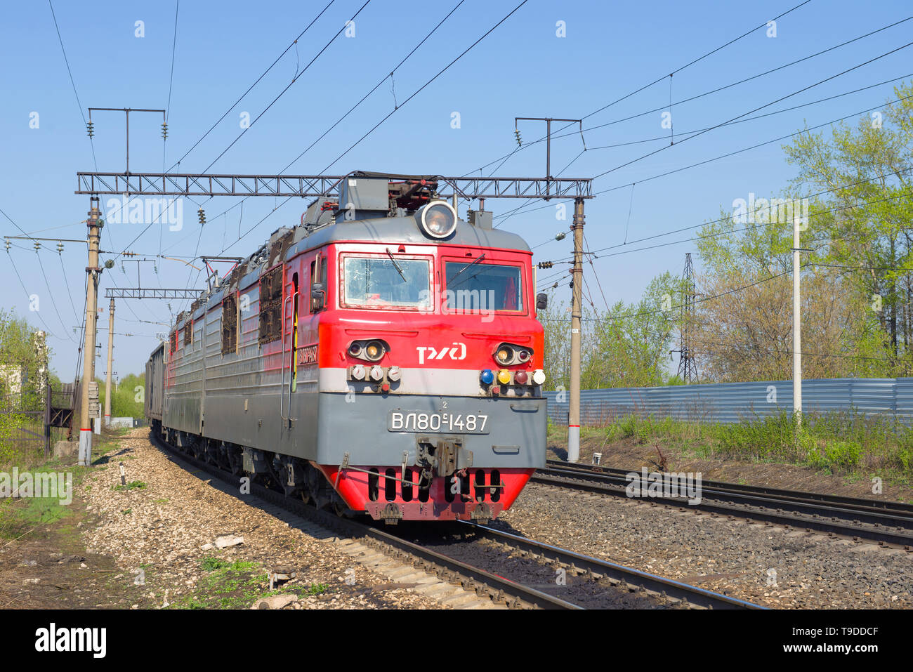SHARYA, RUSSIA - MAY 09, 2019: Electric locomotive VL-80S close-up on a sunny May day - Stock Image