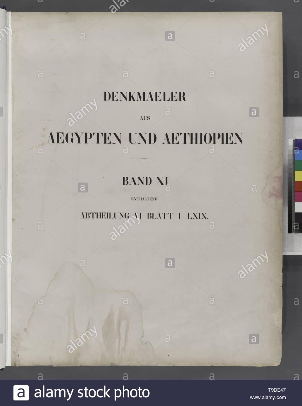 Lepsius,Richard,1810-1884-Title page]  Denkmaeler aus Aegypten und Aethiopien  Band XI enthaltend Abtheilung VI Blatt I-LXIX [1-69] - Stock Image