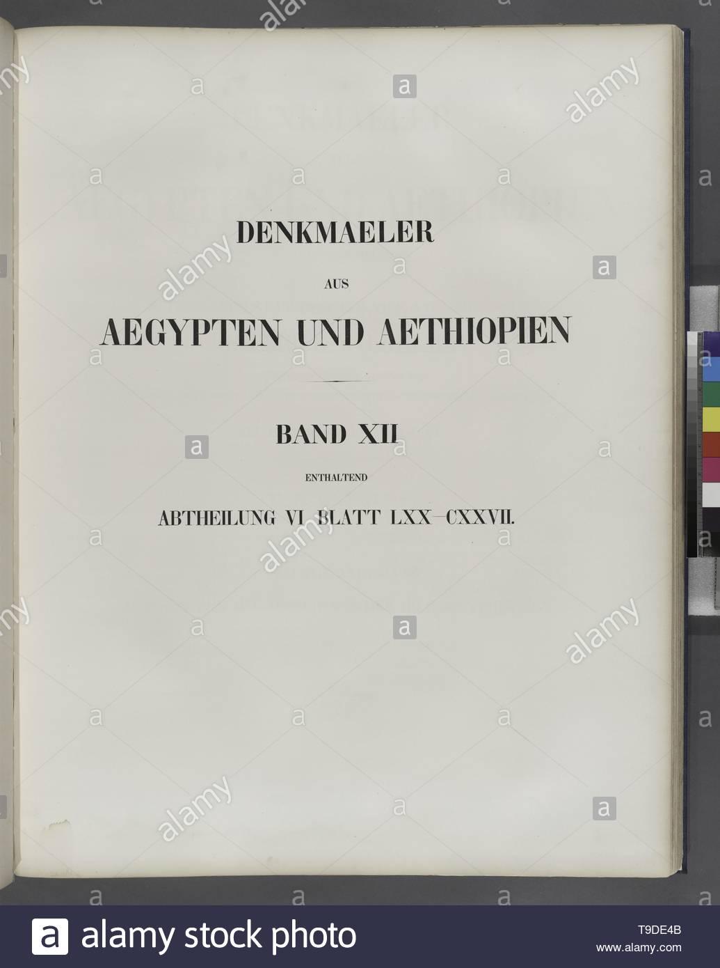 Lepsius,Richard,1810-1884-Title page] Denkmaeler aus Aegypten und Aethiopien  Band XII enthaltend Abtheilung VI Blatt LXX-CXXVII [70-127] - Stock Image