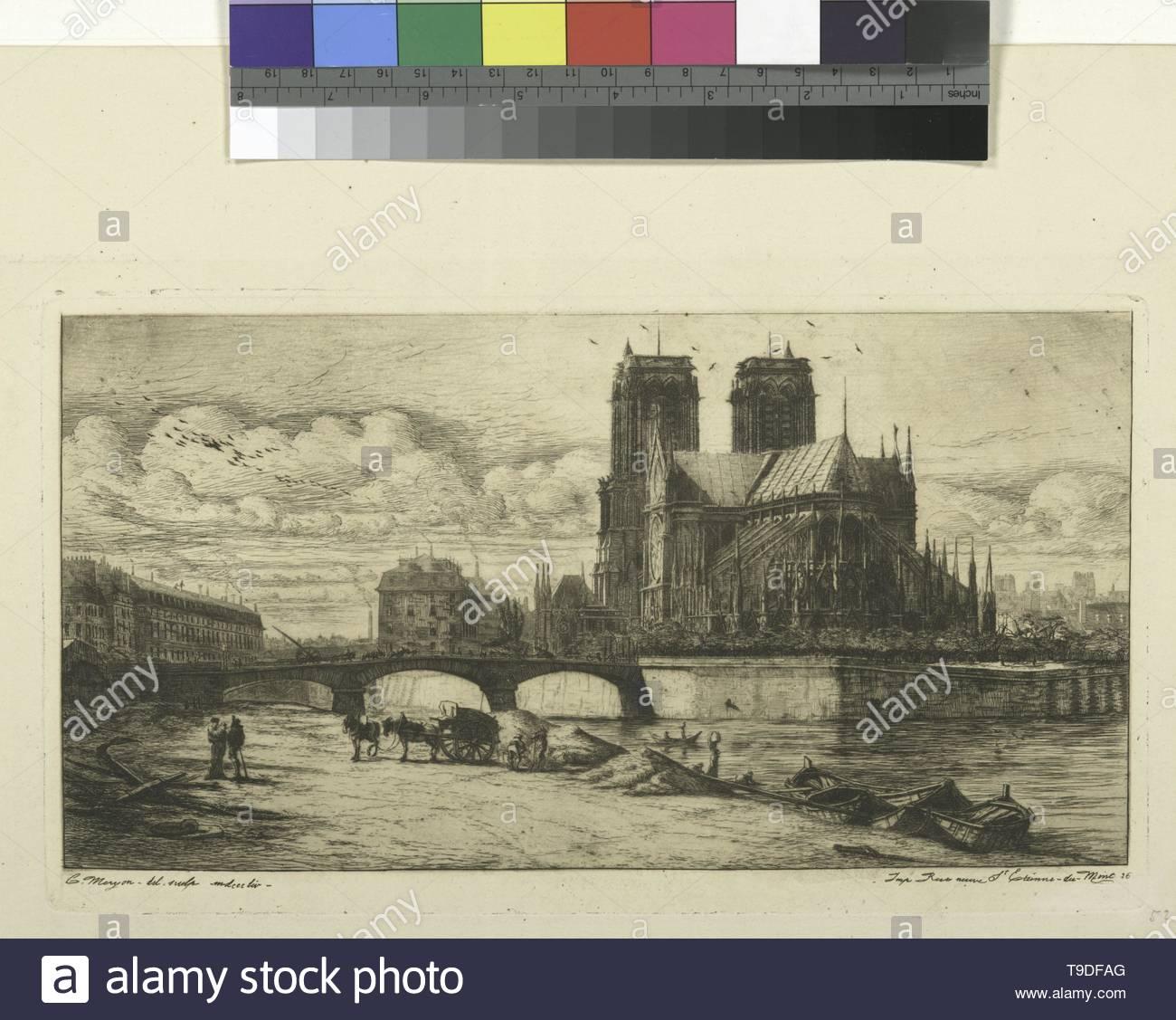 Méryon,Charles(1821-1868)-L& x27,Abside de Notre-Dame de Paris - Stock Image