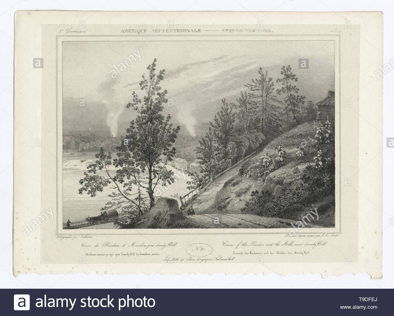 Milbert,JacquesGérard(1766-1840)-Course of the Hudson and the mills, near Sandy Hill - Stock Image