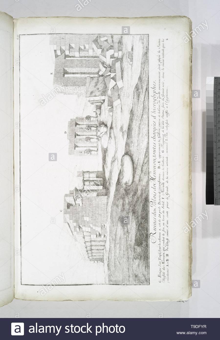 Norden,FrederikLudvig,1708-1742-Ruines du Palais de Memnon, toutes chargées d& x27,hiéroglyphes - Stock Image