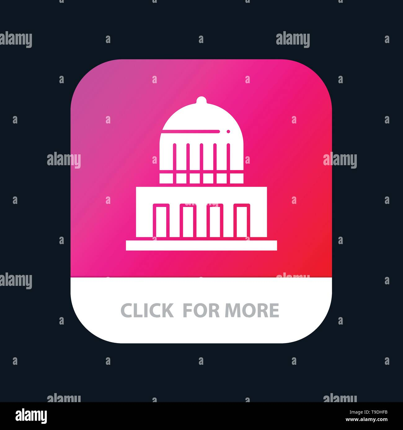 Building, City, Landmark, Usa Mobile App Button. Android and IOS Glyph Version - Stock Image
