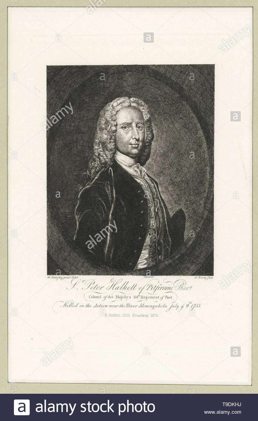 Ramsay,Allan(1713-1784)-Sr  Peter Halkett of Pitsirrane Bart , Colonel of His Majesty& x27,s 44th Rregiment of Foot, killed in the action near the River Monongabela July ye 9th 1755 - Stock Image
