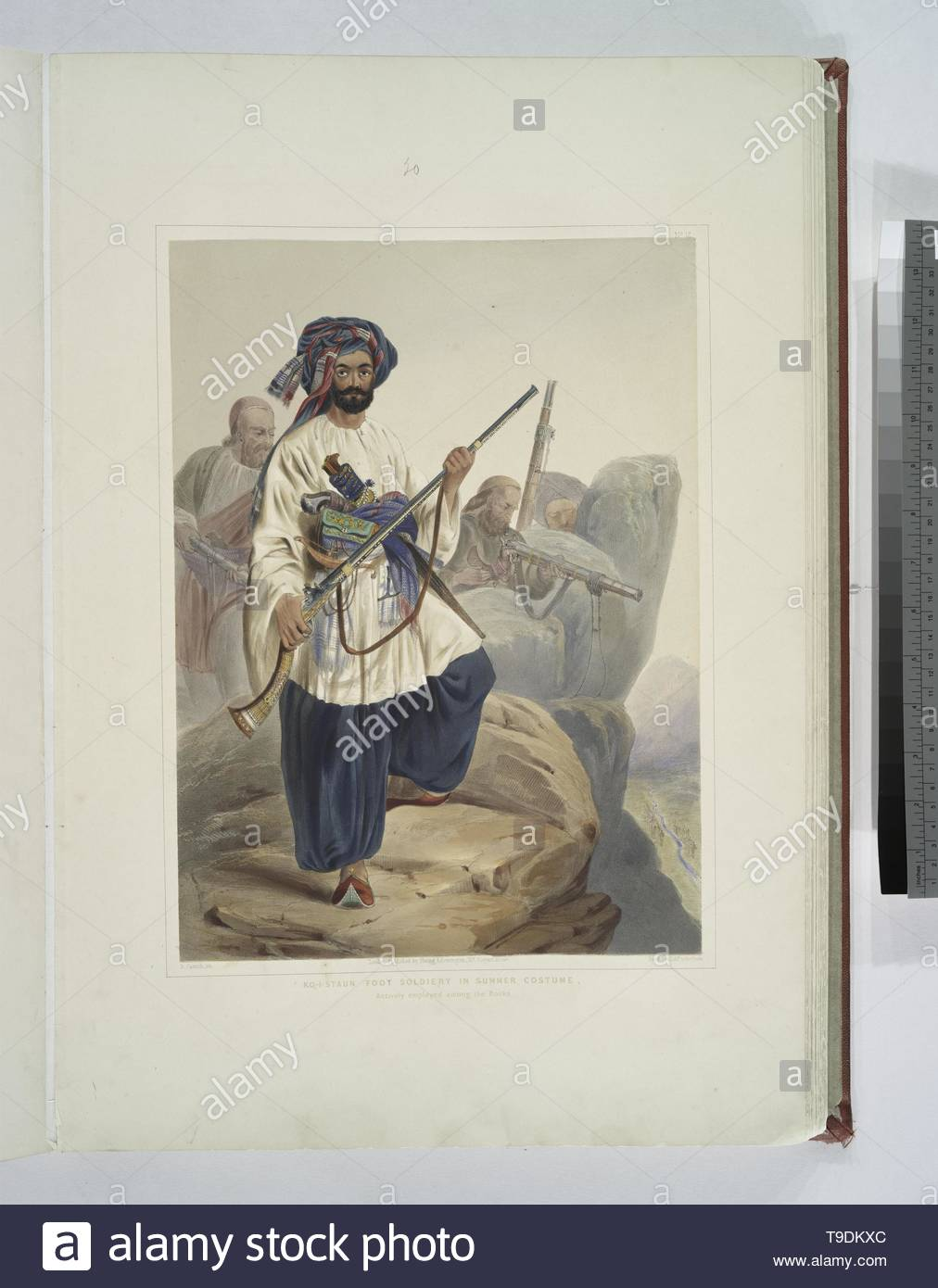 Rattray,James,1818-1854-Ko-i-staun foot soldiery in summer costume, actively employed among the rocks - Stock Image