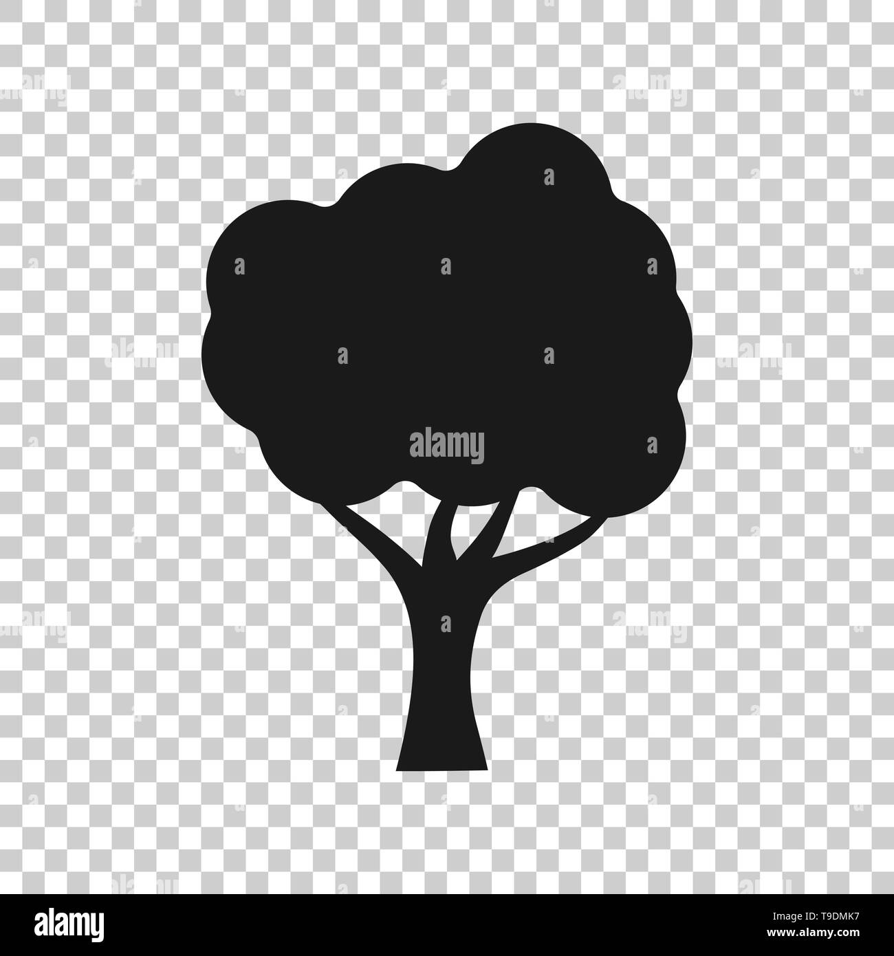 Tree sign icon in transparent style. Branch forest vector illustration on isolated background. Hardwood business concept. - Stock Image