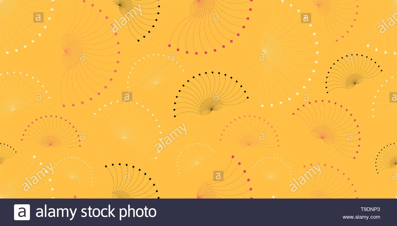 floating seeds wings seamless pattern in summer shades - Stock Image