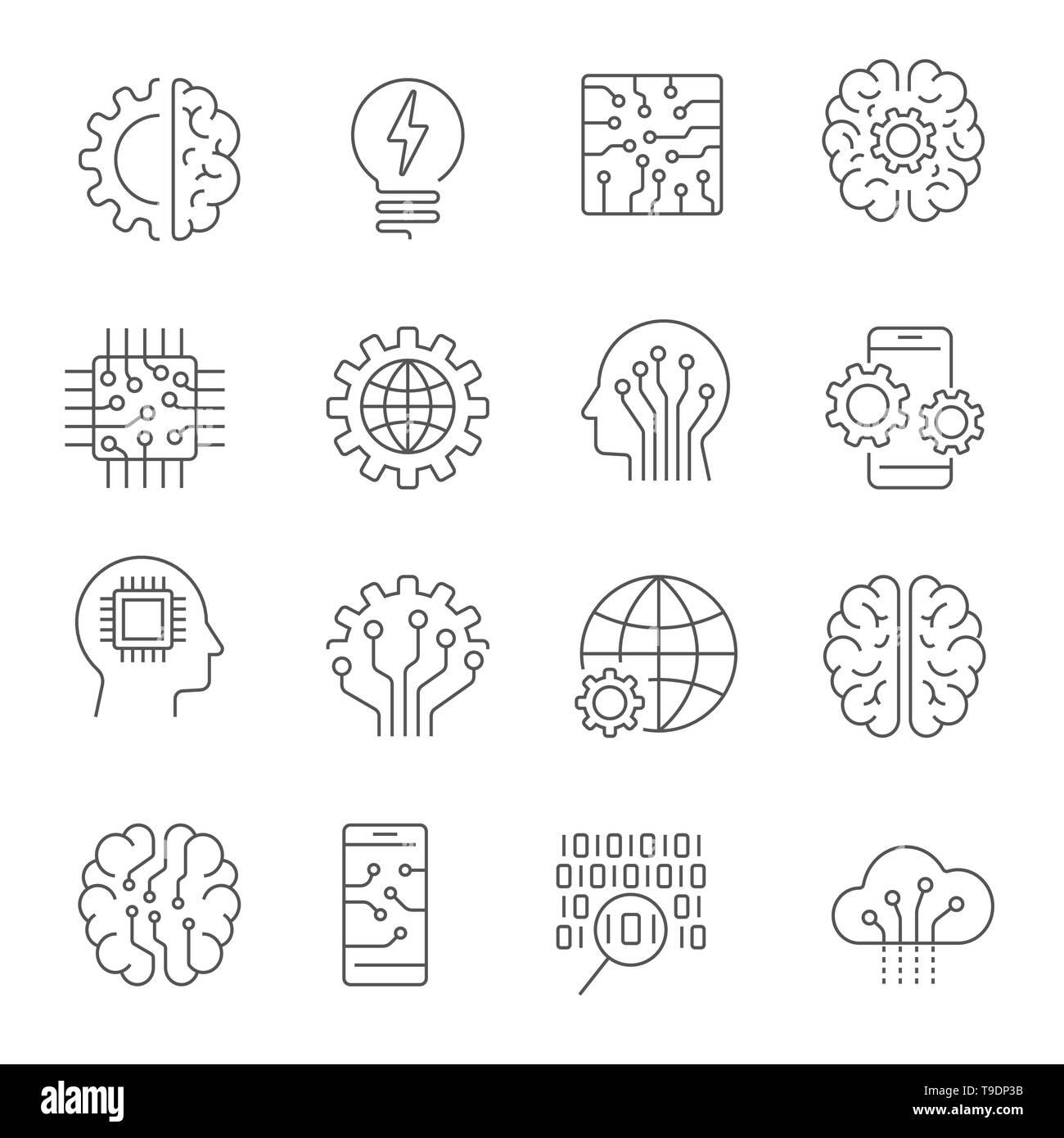 Artificial intelligence icon set. Editable Stroke - Stock Image