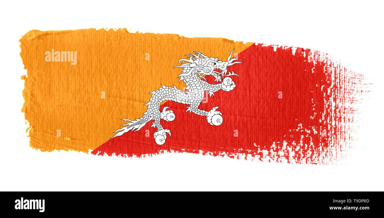 Brushstroke Flag Bhutan - Stock Image