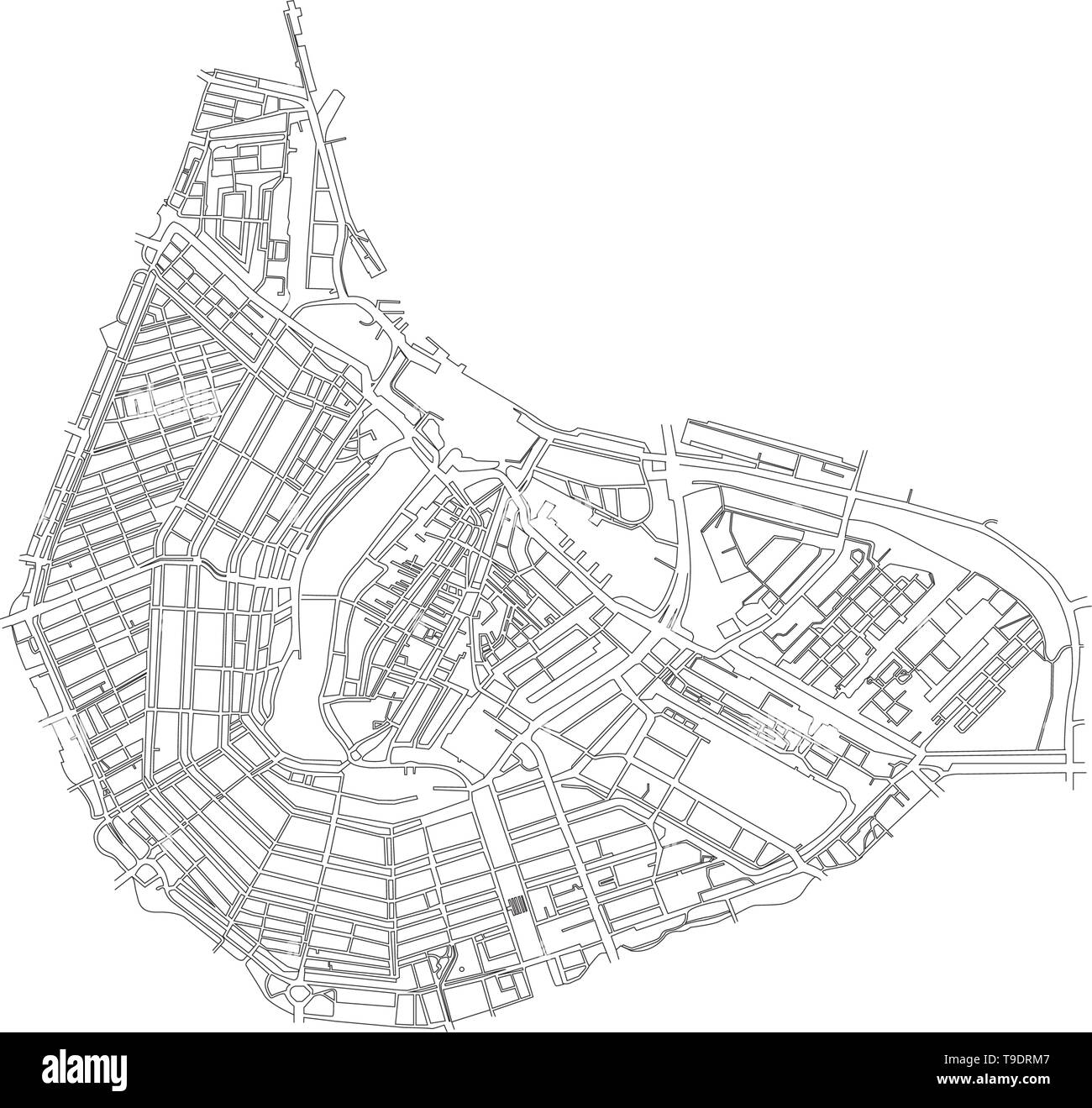 Amsterdam City center map vector isolated on white background - Stock Vector
