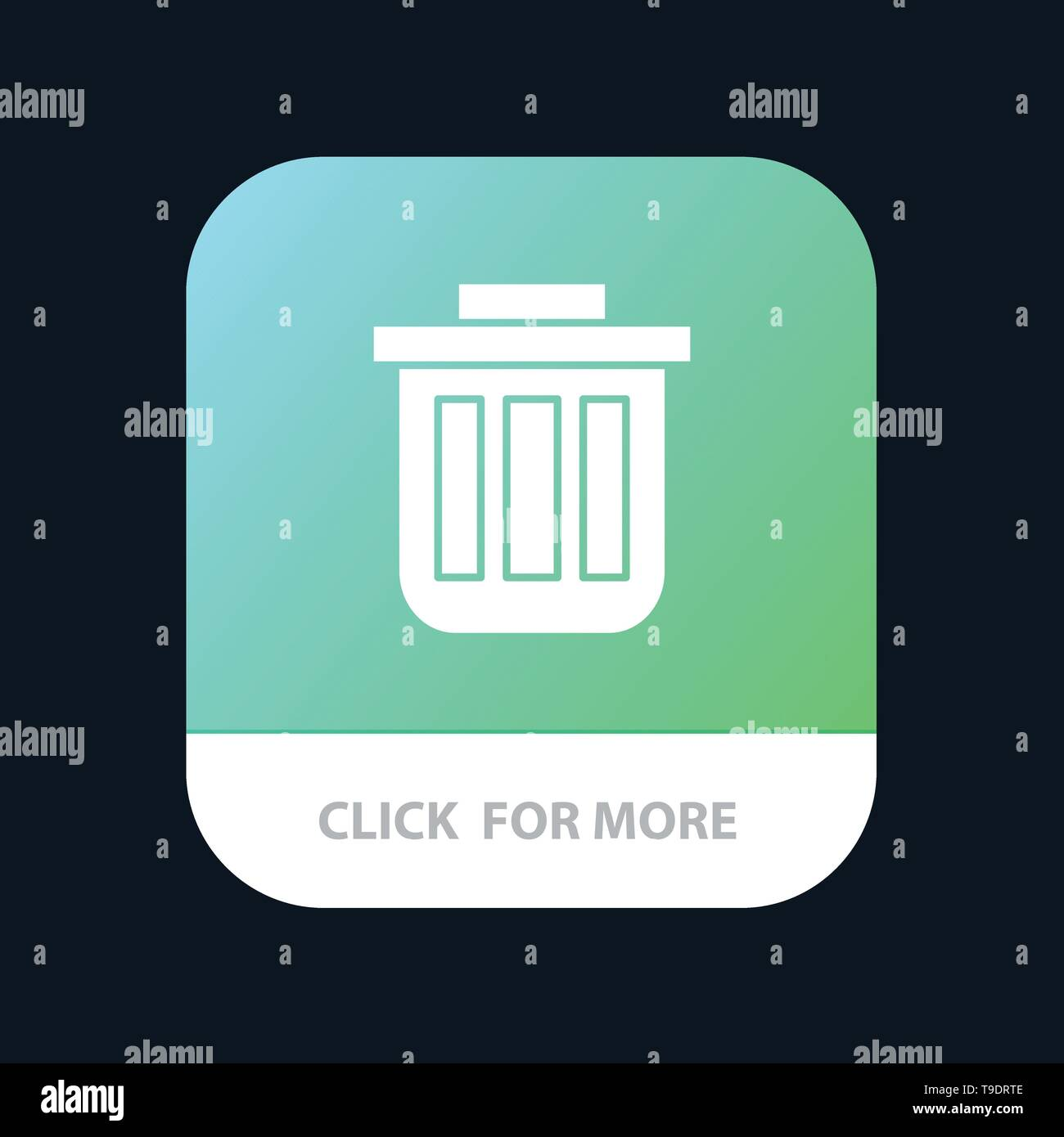 Trash, Basket, Bin, Can, Container, Dustbin, Office Mobile App Button. Android and IOS Glyph Version - Stock Image