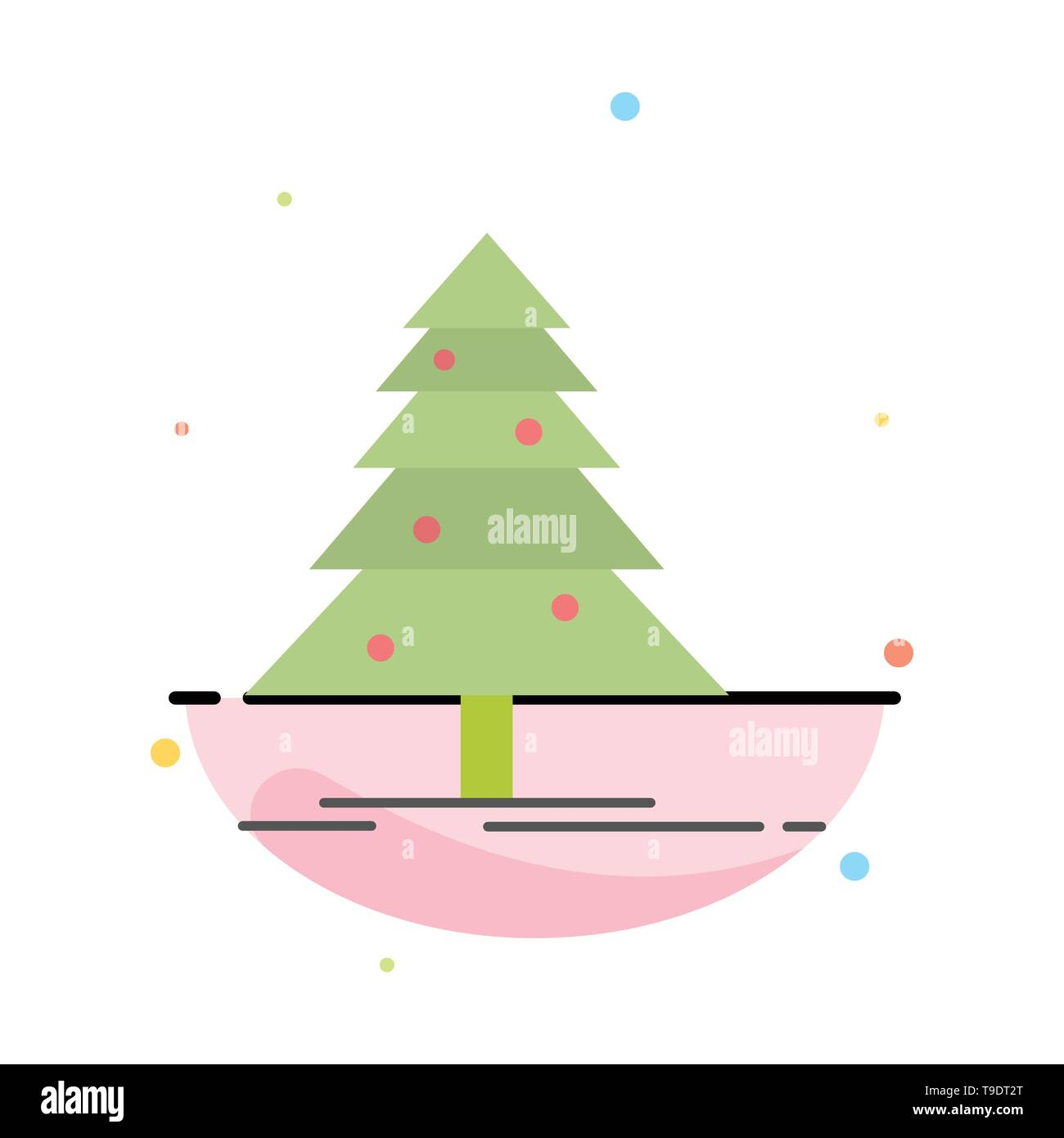 Tree, Forest, Christmas, XMas Abstract Flat Color Icon Template - Stock Image
