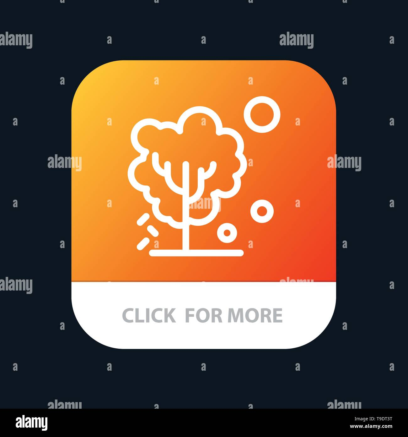 Dry, Global, Soil, Tree, Warming Mobile App Button. Android and IOS Line Version - Stock Image