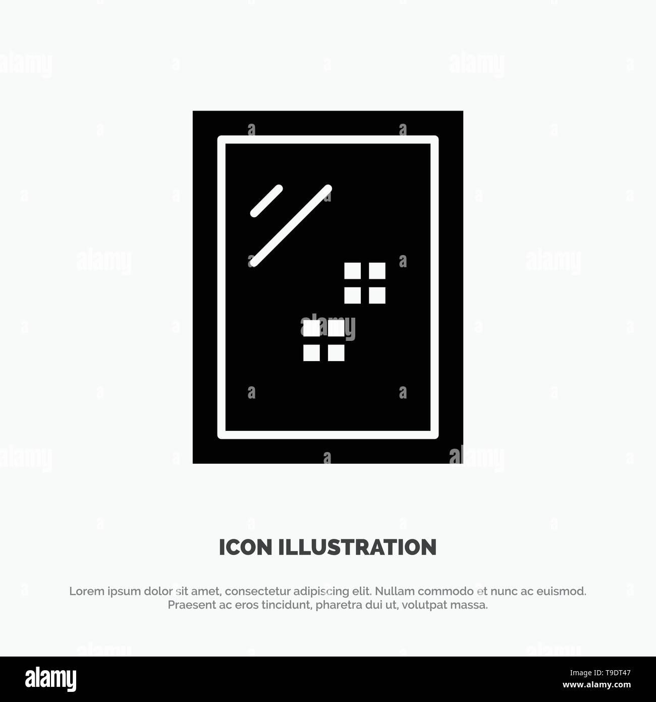 Door, Mirror, Cleaning, Wash solid Glyph Icon vector - Stock Image