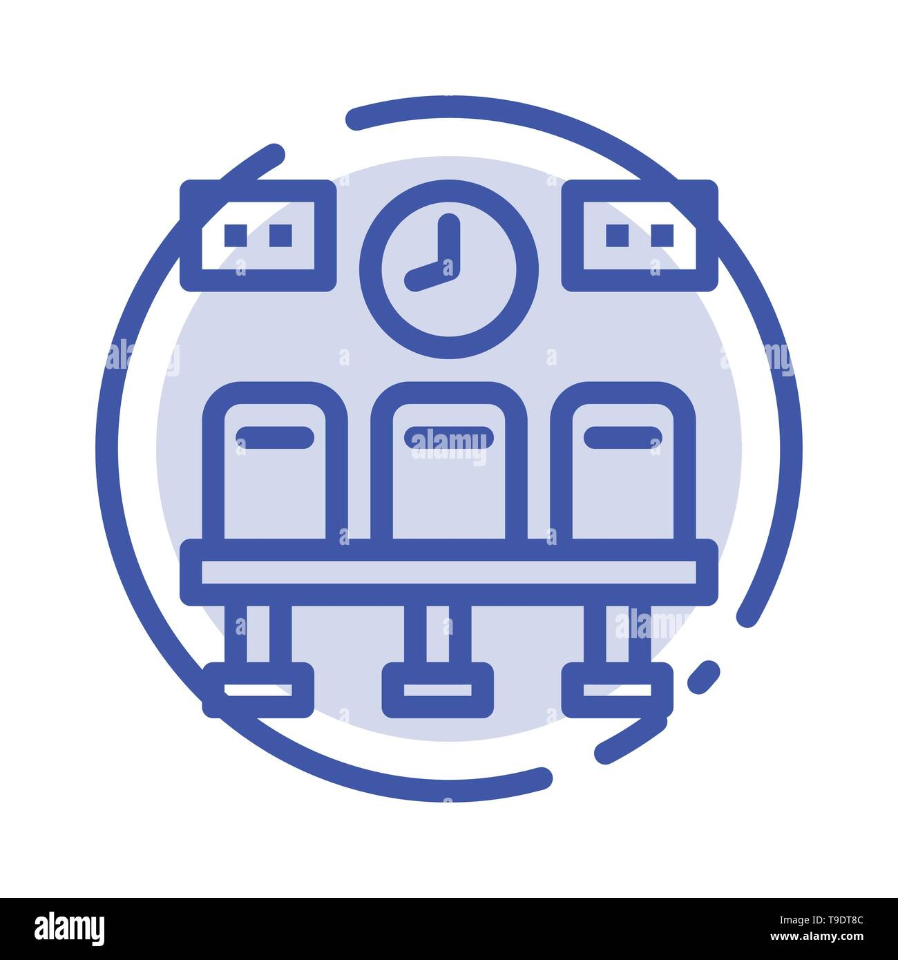 Seats, Train, Transportation, Clock Blue Dotted Line Line Icon - Stock Image